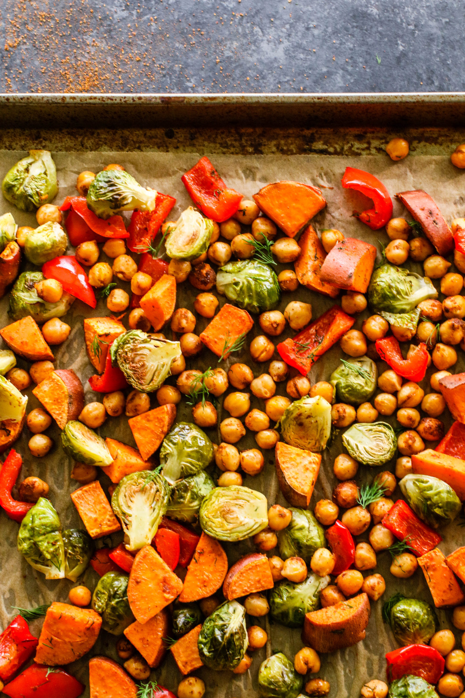 "My Favorite ""Tray Dinner"" - Roasted Sweet Potato, Brussel Sprouts, & Chickpeas (Roasted Sweet Potato, Brussel Sprouts, & Chickpeas by Flora & Vino"