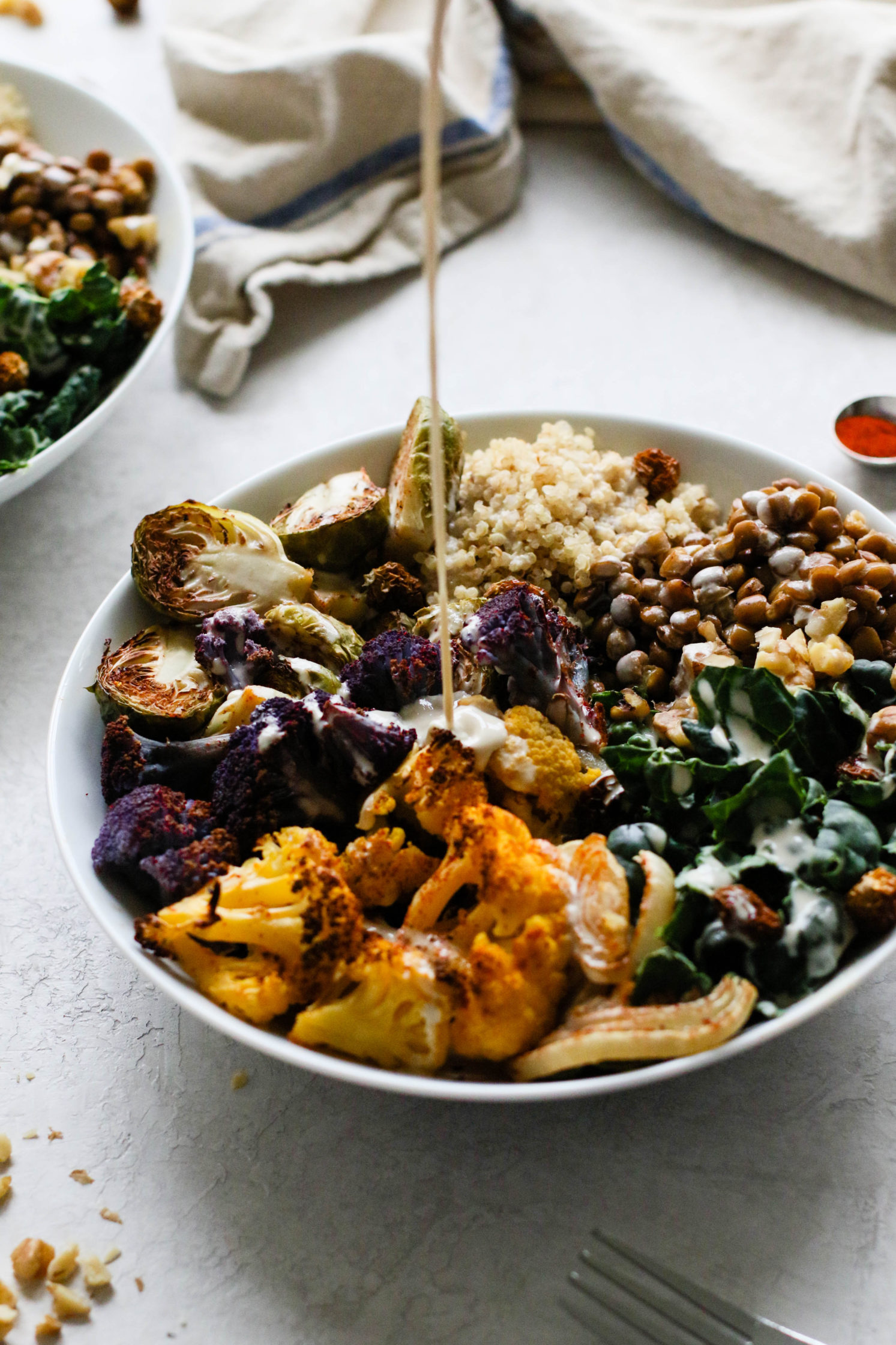 Paprika Roasted Power Bowl with Oil-Free ACV Tahini