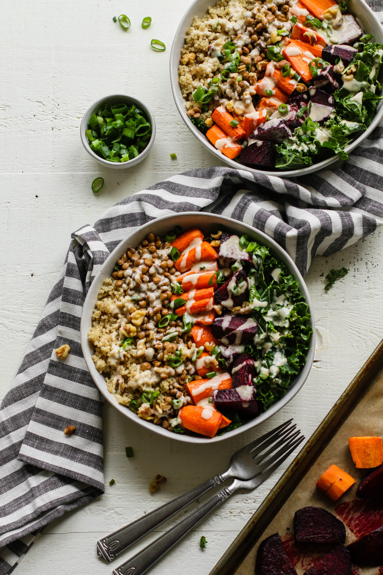 Roasted Carrot, Beet, & Lentil Macro Bowl with Oil-Free Maple Tahini by Flora & Vino