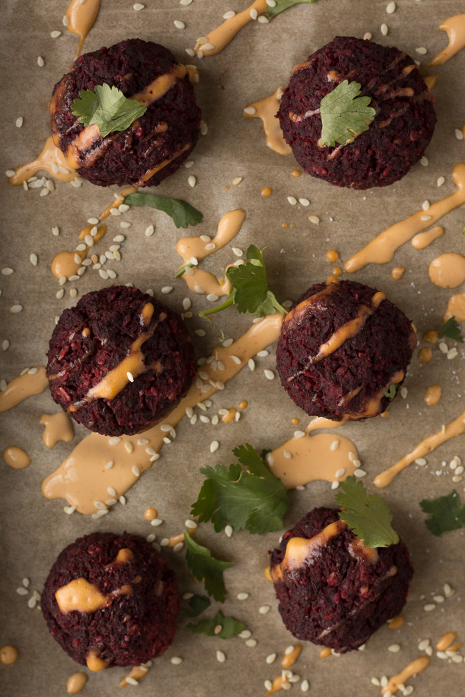 Lentil Walnut Beet Balls with Spicy Tahini Dressing by Flora & Vino