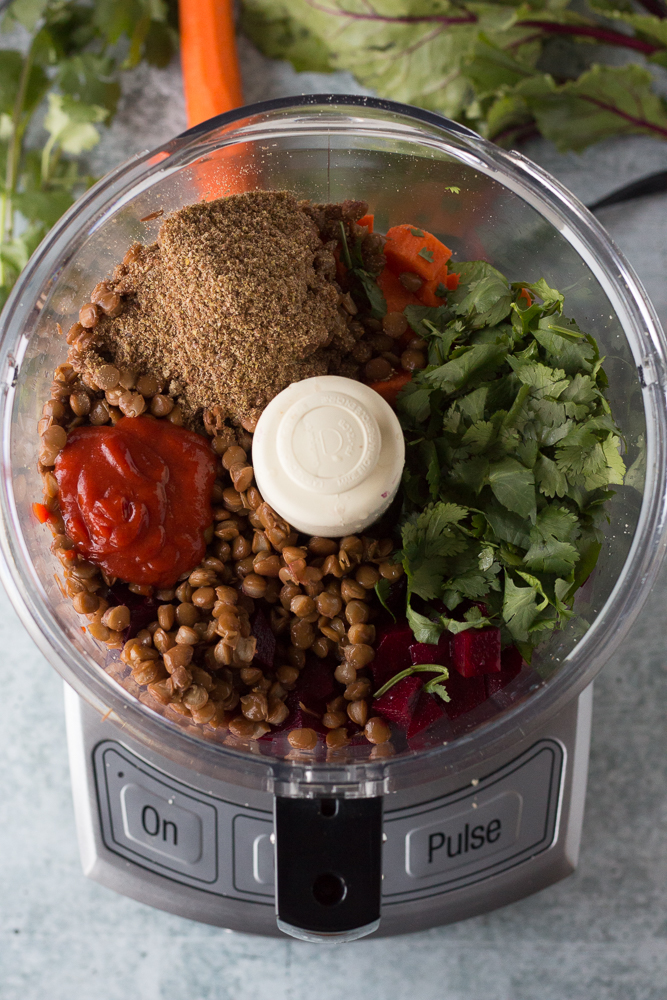 Lentil Walnut Beet Balls with Spicy Tahini Dressing prep photo by Flora & Vino