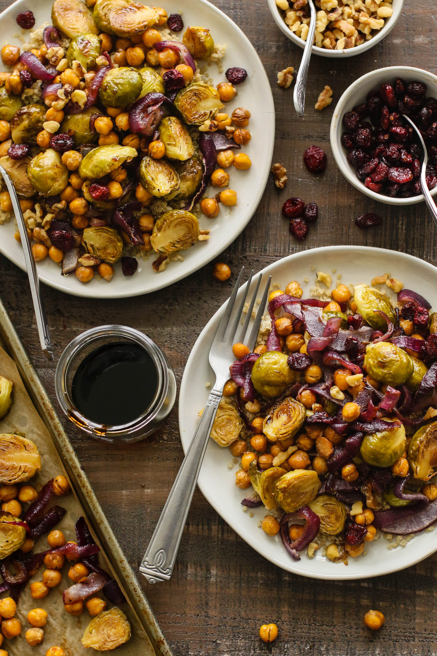 1-Pan Maple Balsamic Brussels Sprouts & Chickpeas by Flora & Vino