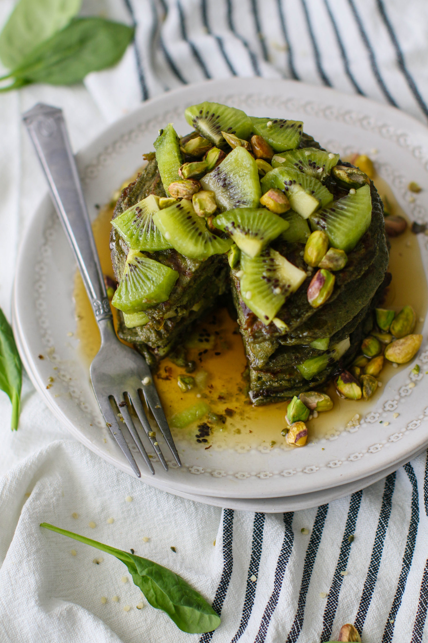 Glowing Green Protein Pancakes by Flora & Vino