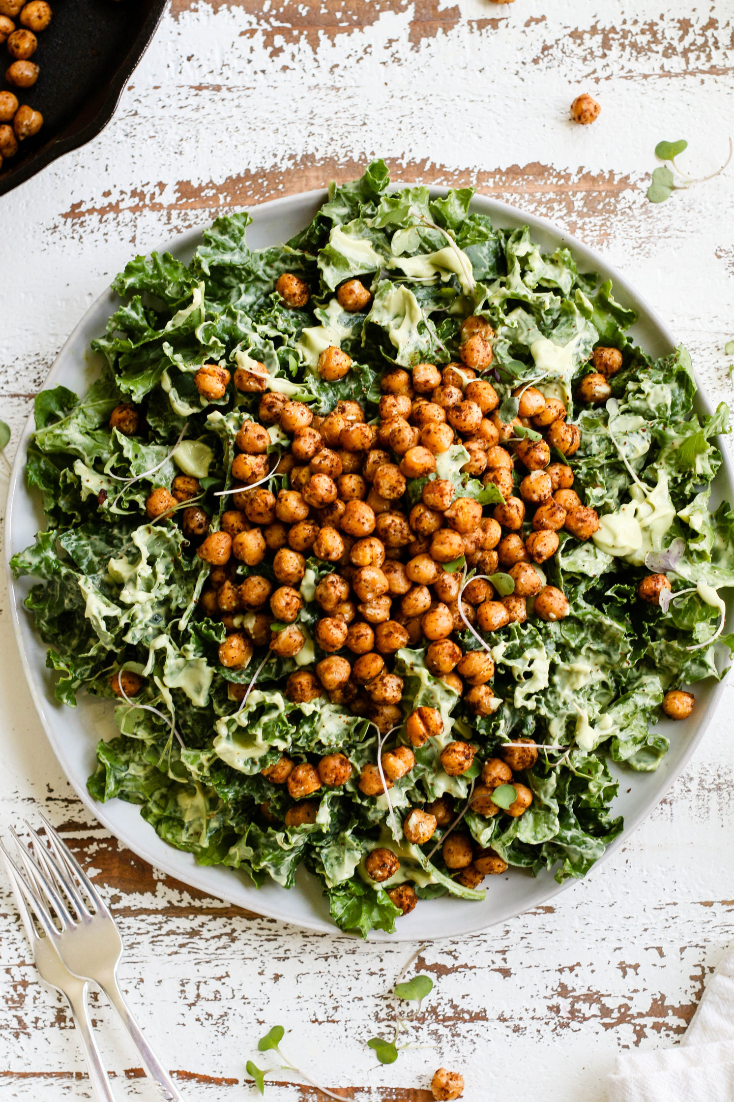 "Kale ""Caesar"" Salad with Avocado Tahini Cream & Crispy Chickpea Croutons by Flora & Vino"