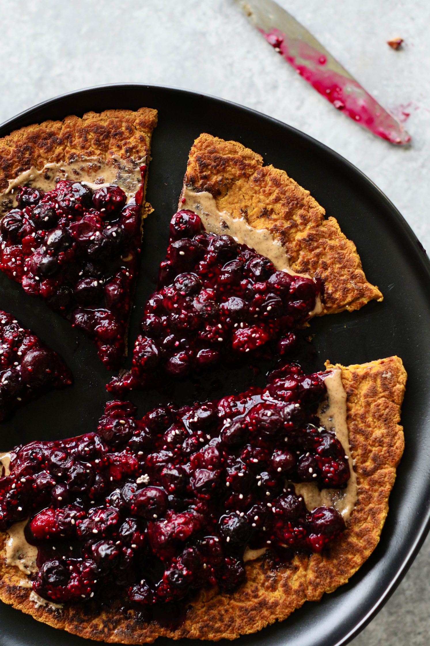 Peanut Butter & Jelly Protein Pancake Pizza by Flora & Vino