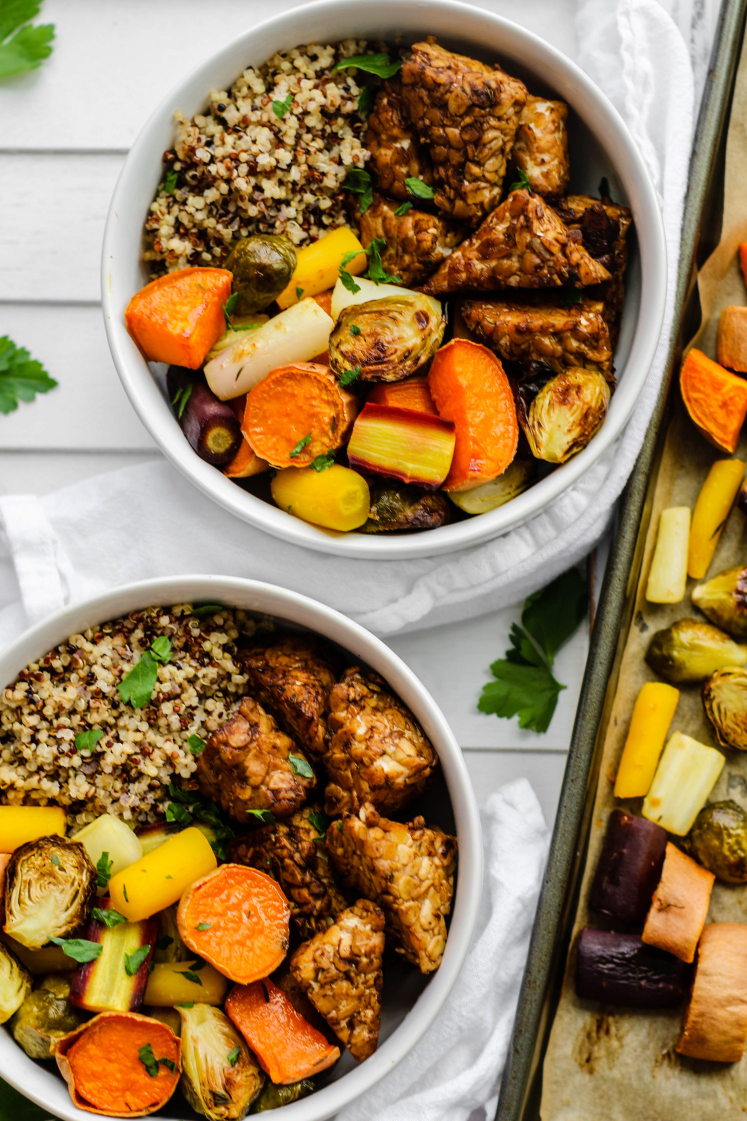 Maple Balsamic Tempeh & Rainbow Veggie Buddha Bowls