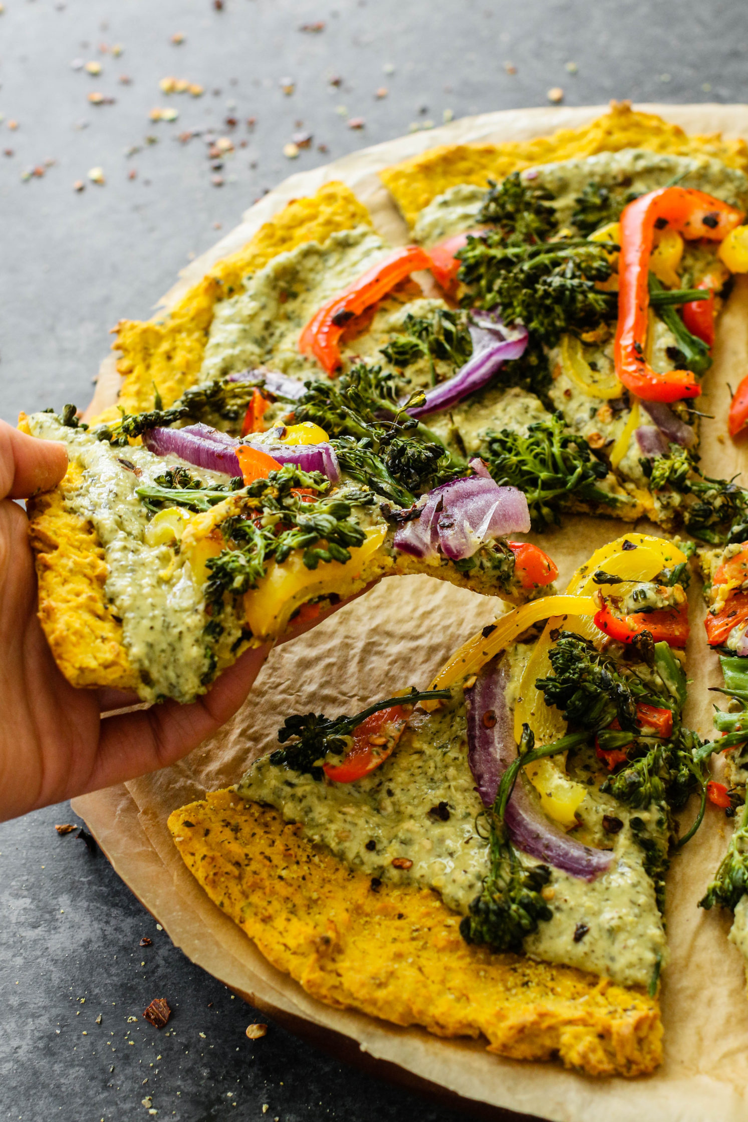 Butternut Squash Pizza with Kale Pesto Hummus