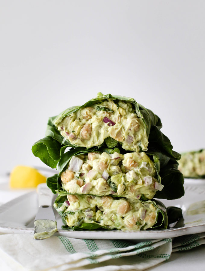 Green Chickpea Salad Collard Wraps by Flora & Vino