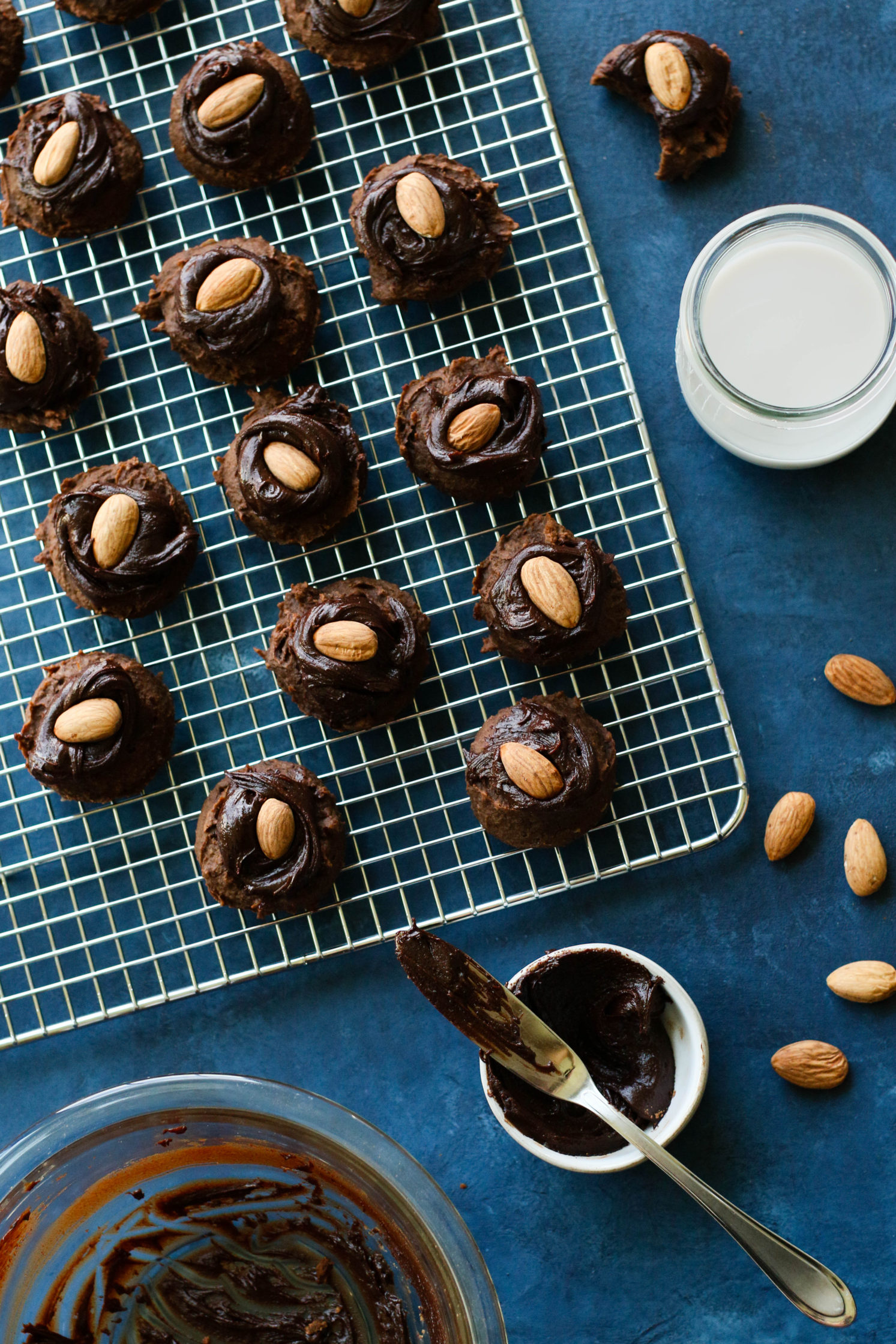 Chocolate Chick-Date Cookies with Almond Butter Cacao Frosting