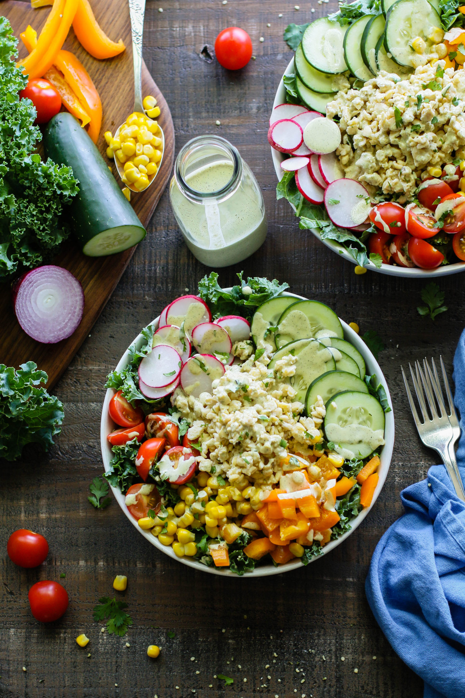 Garden Tempeh Macro Bowls with Hemp Heart Ranch by Flora & Vino