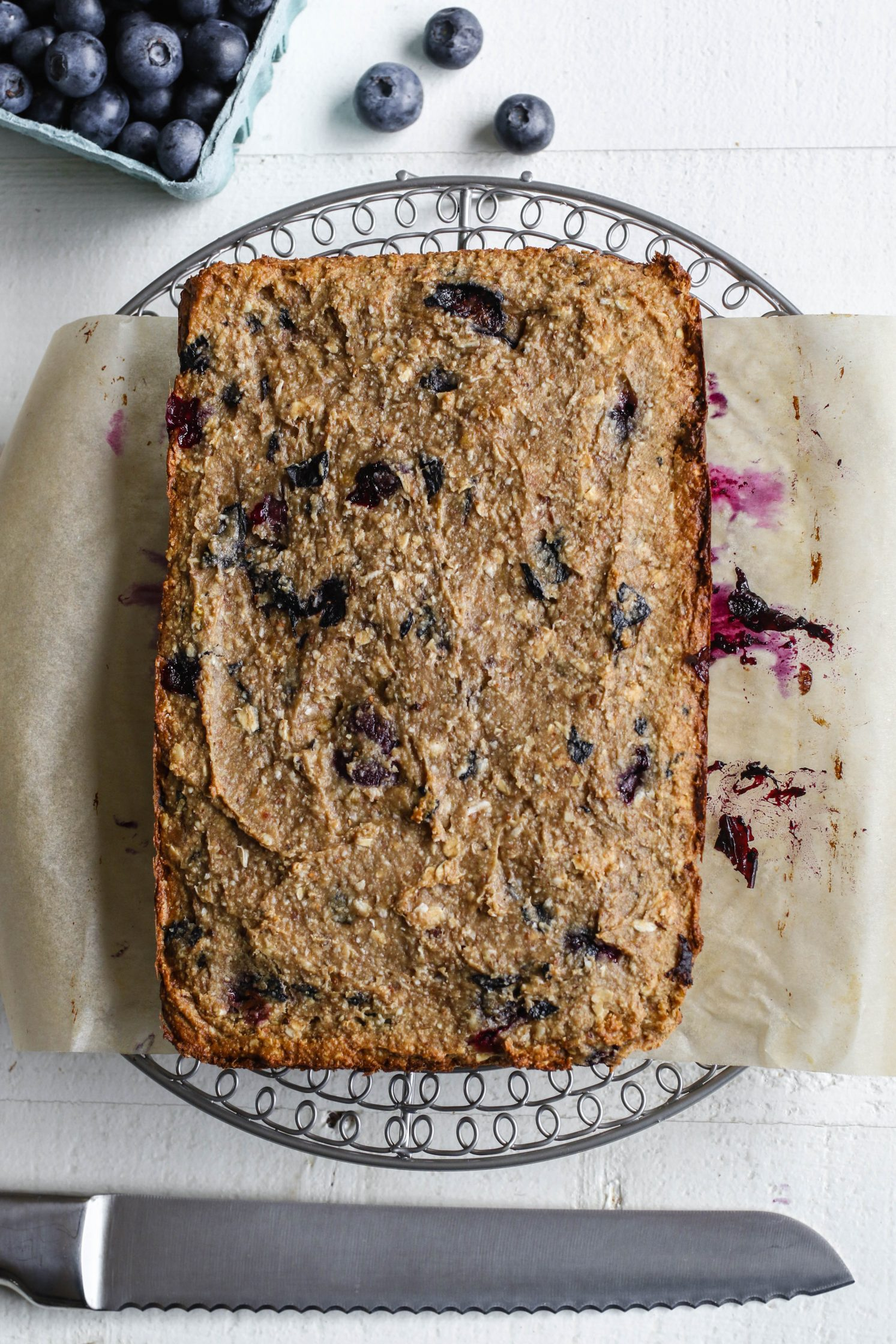 Blueberry Maple Baked Breakfast Bars baked
