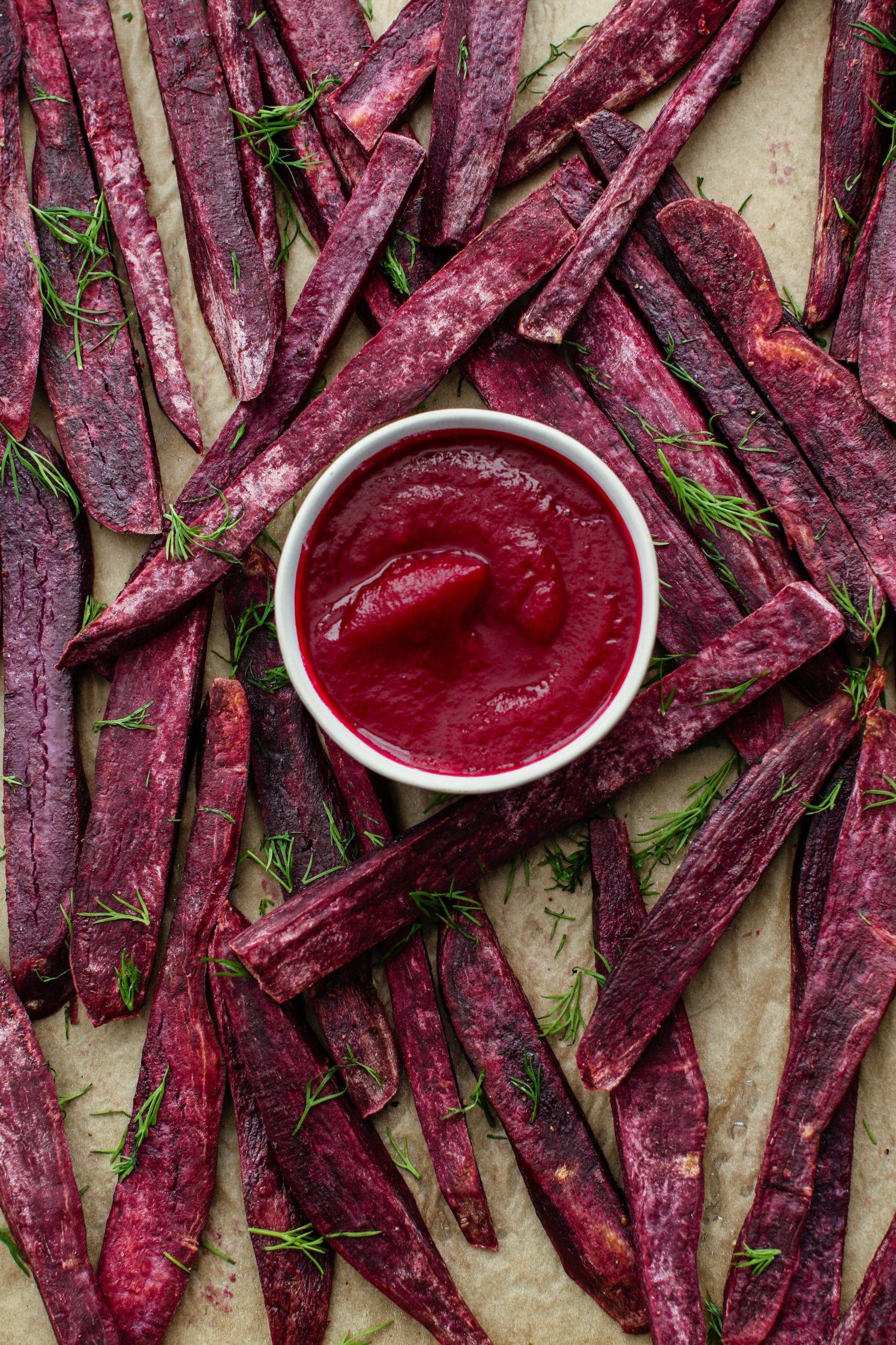 Oil-Free Purple Sweet Potato Fries with Beet Ketchup