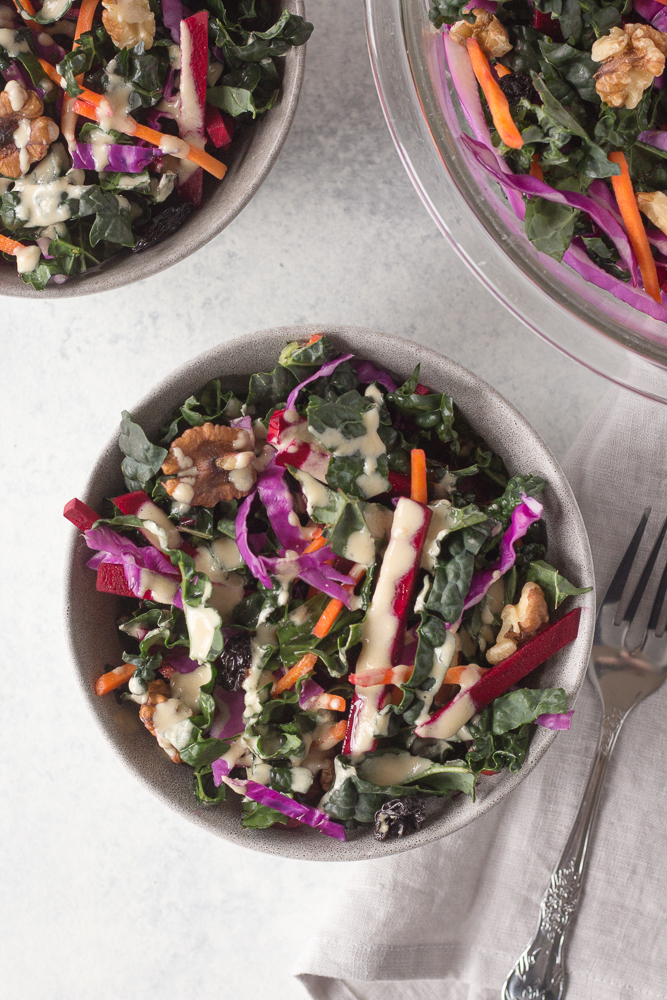 Raw Krazy Kale Salad with Miso Tahini Dressing by Flora & Vino