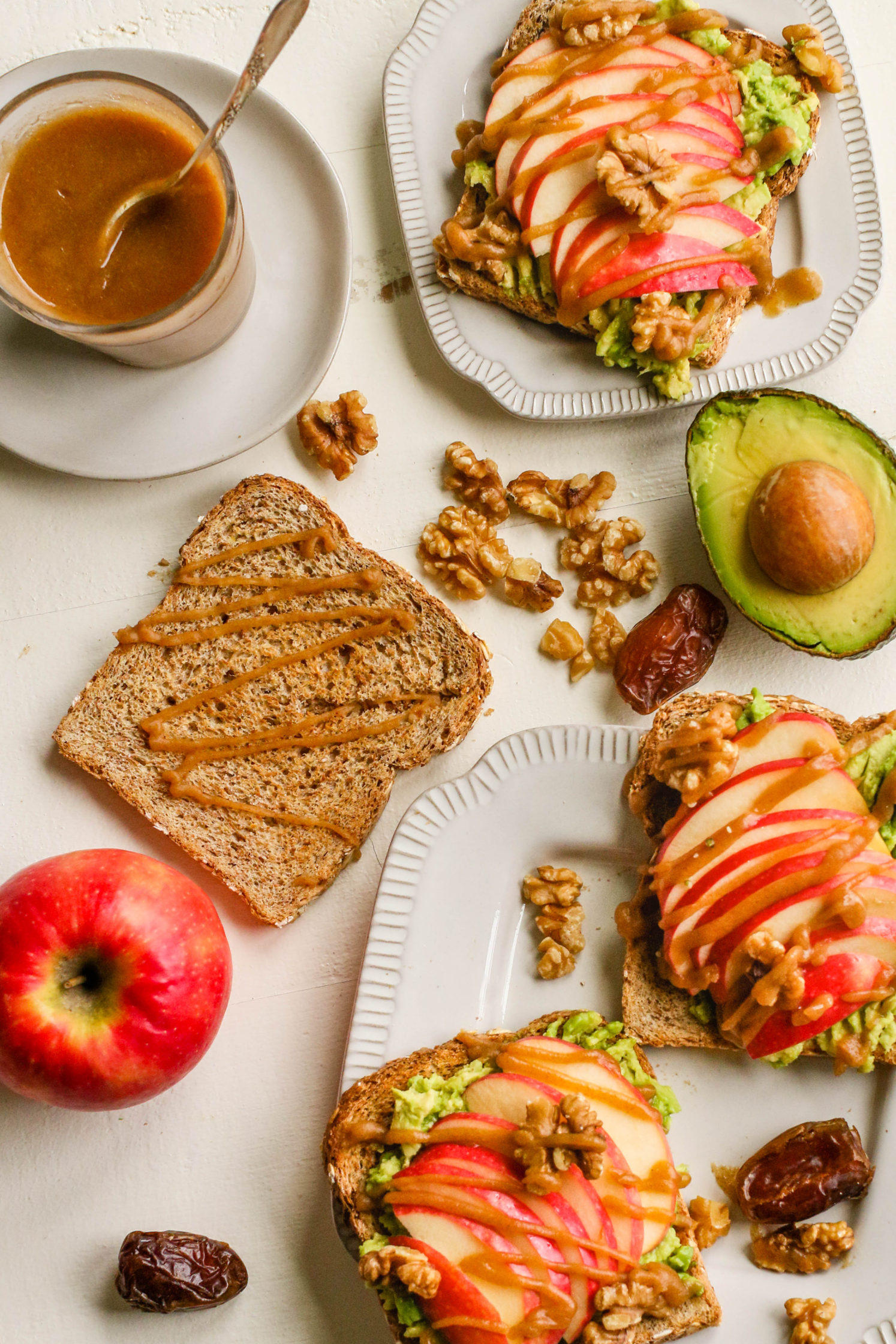 Apple Pie Avocado Toast with Easy Date Caramel