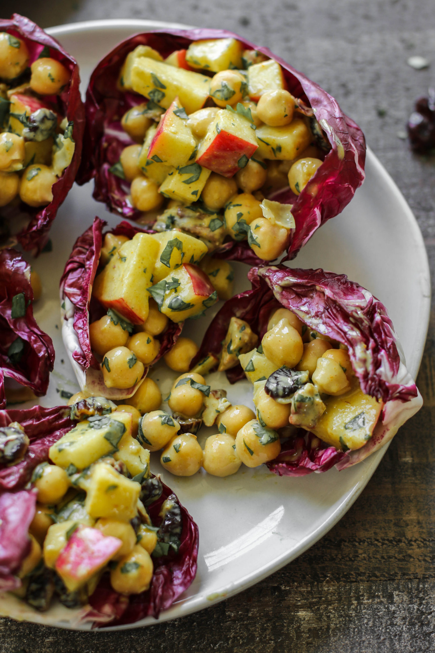 Curried Cranberry Apple Pecan Chickpea Salad Cups