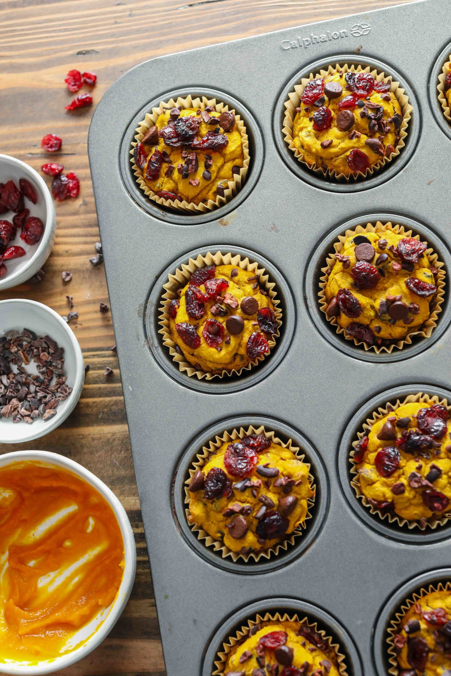 Pumpkin Cacao Cranberry Muffins by Flora & Vino