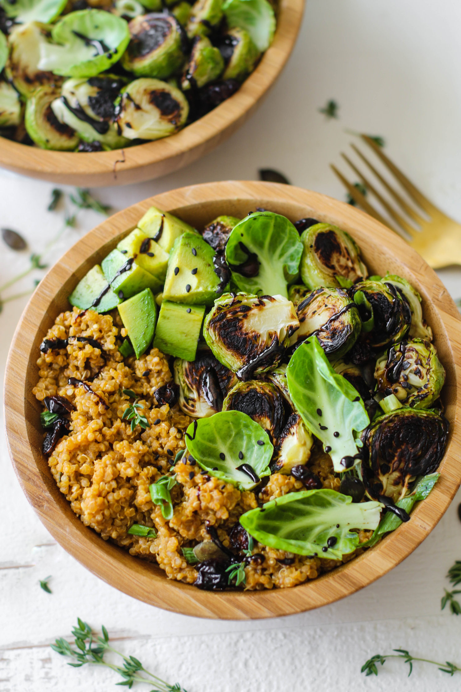 Pumpkin Quinoa Bowls with Brussel Sprouts and Easy Balsamic Reduction