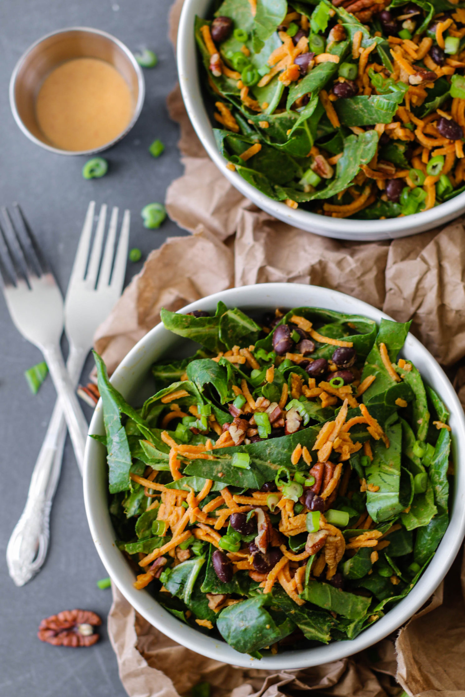 Sweet Potato Black Bean Collard Bowl with Orange Maple Tahini