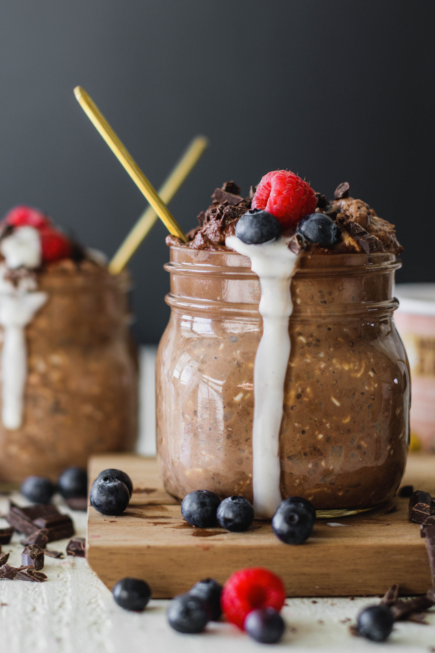 Hot Chocolate Overnight Oats with Chocolate Cashew Cream