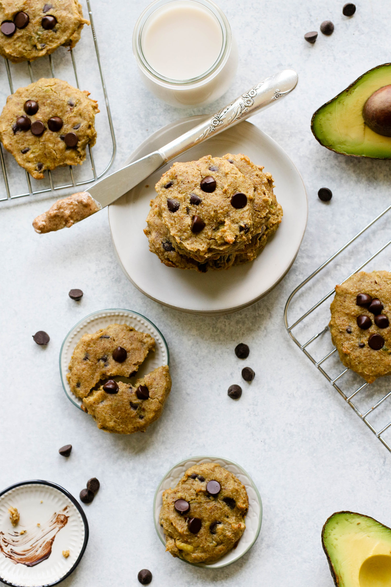Almond Butter Avocado Chocolate Chip Cookies