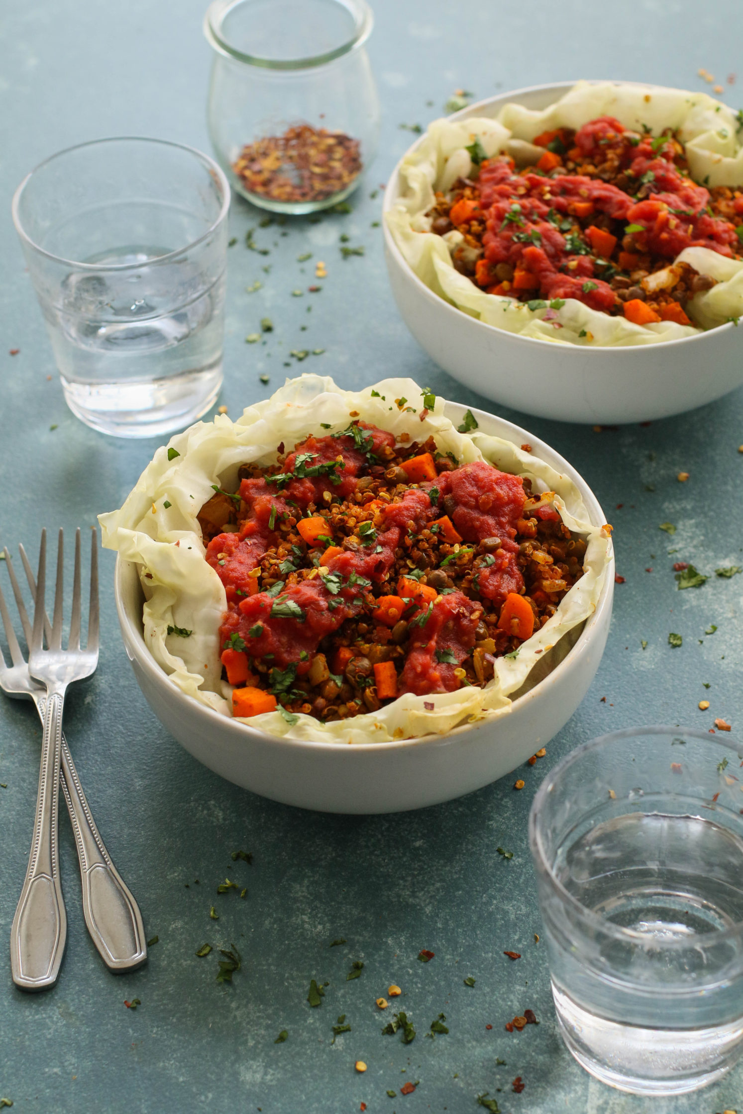 Spicy Marinara Stuffed Cabbage Bowls by Flora & Vino