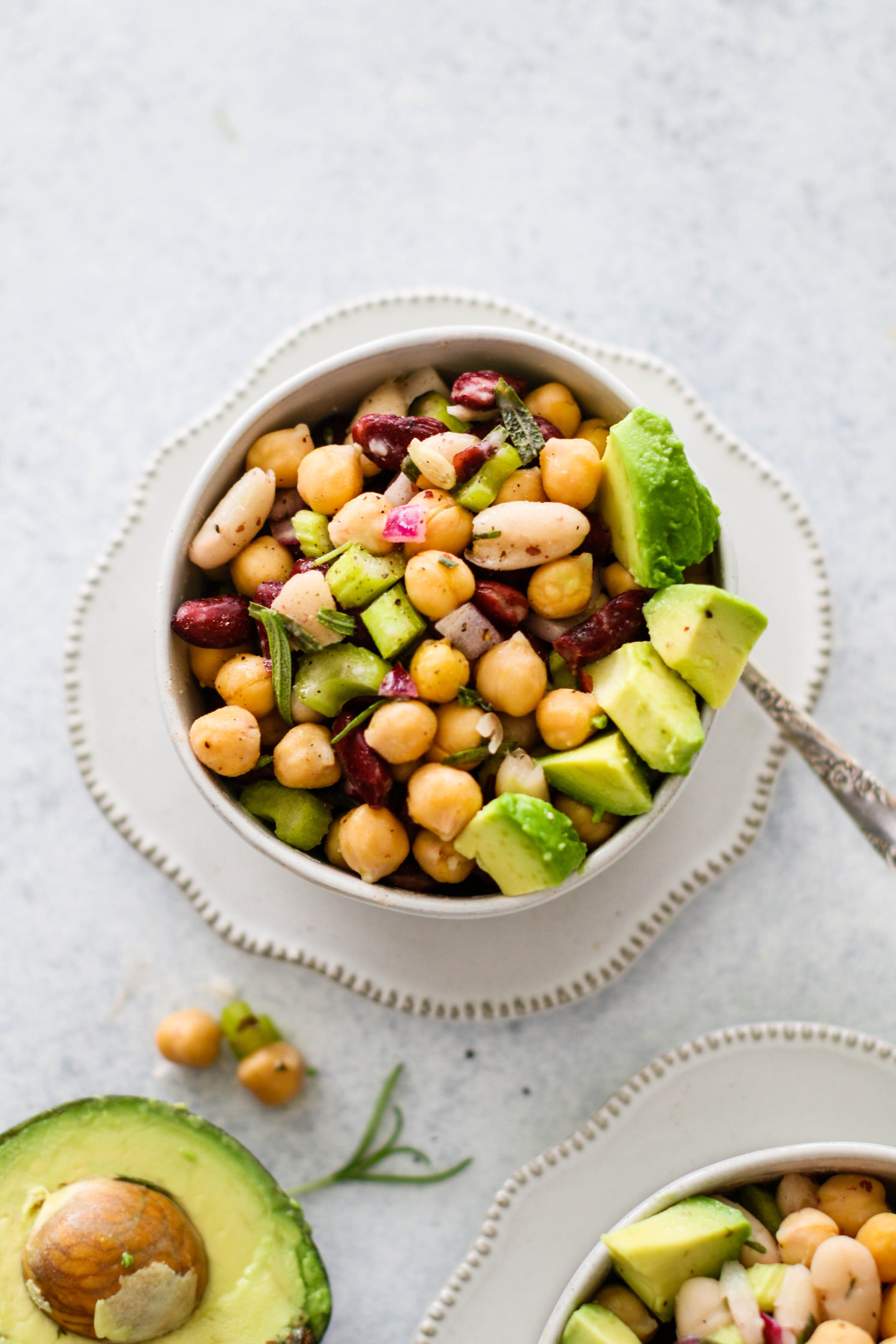 Oil-Free Rosemary Three Bean Salad by Flora & Vino