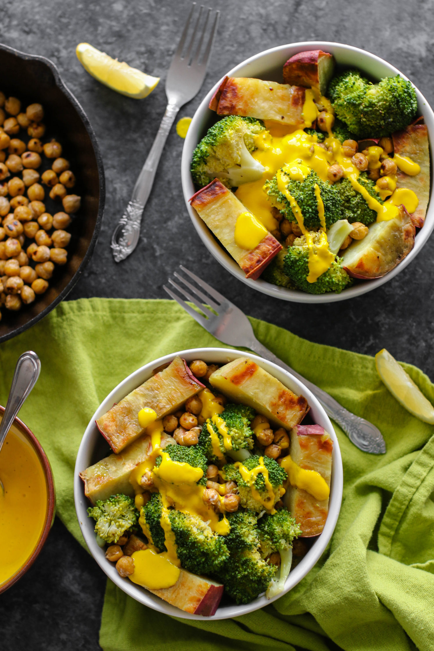 Japanese Yam Buddha Bowl with Turmeric Carrot Cashew Sauce by Flora & Vino