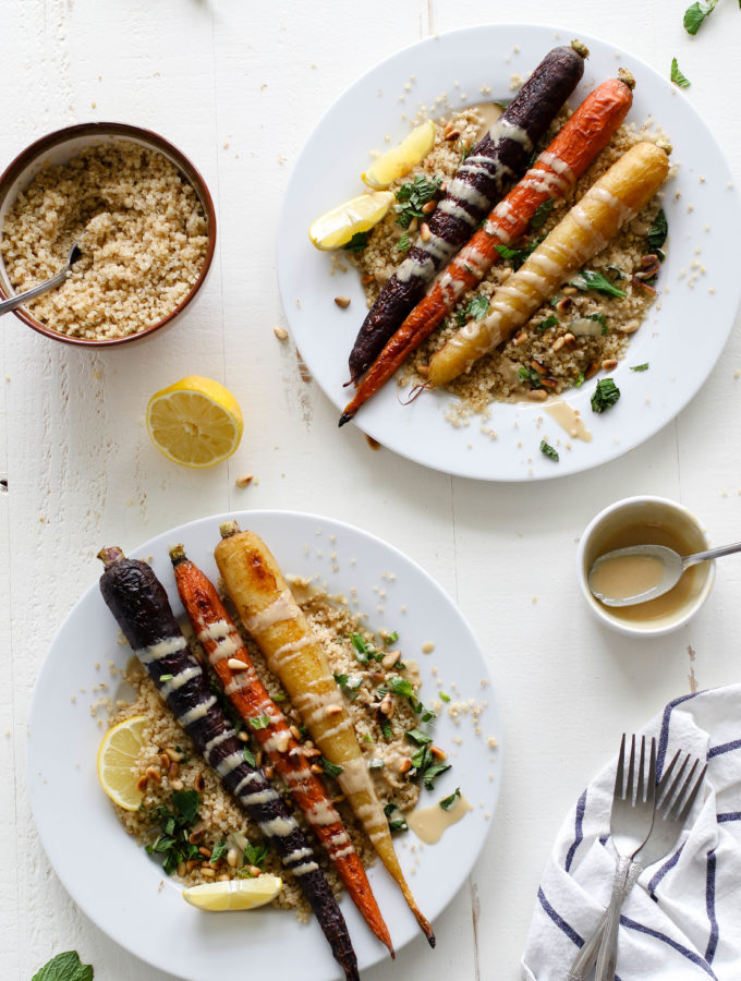 Rainbow Roasted Carrots with Toasted Quinoa, Mint, & Tahini by Flora & Vino