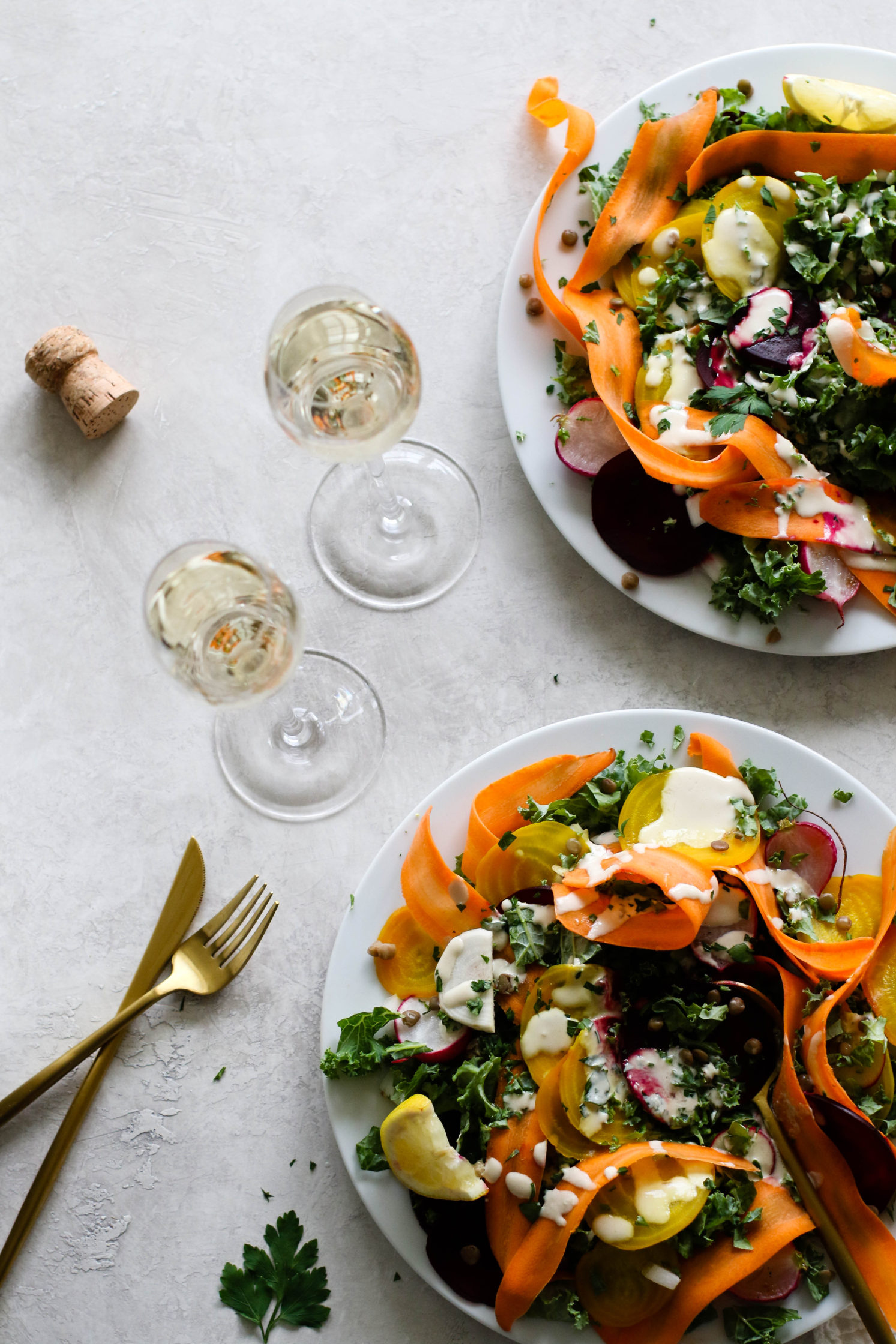 Roasted Beet Salad with Citrus Tahini & Prosecco by Flora & Vino
