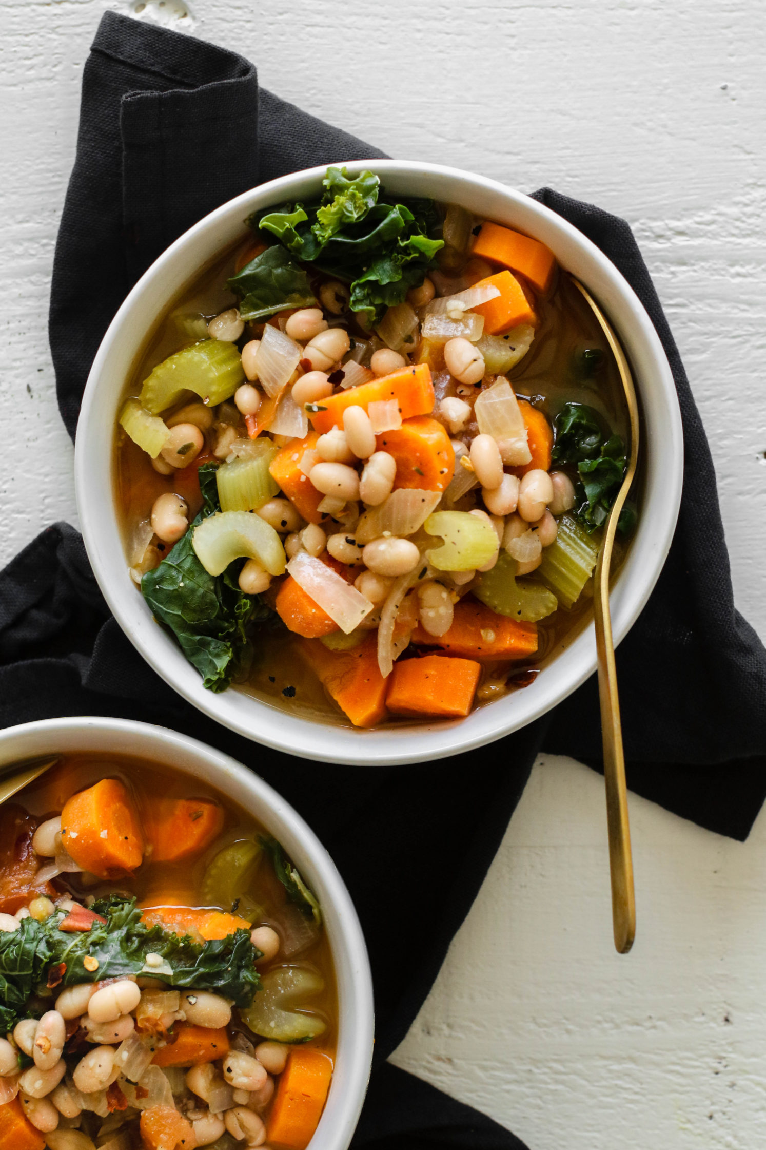 Easy White Bean & Kale Soup by Flora & Vino