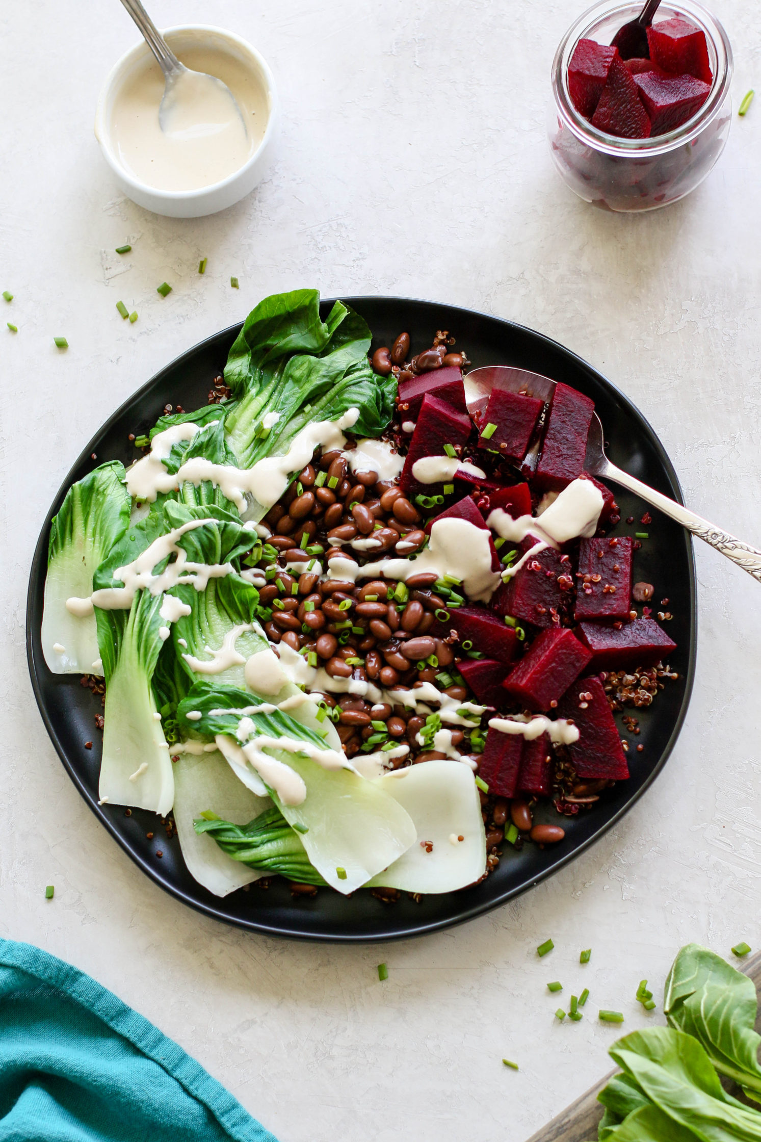 Black Soy Bean, Beet, & Bok Choy Bowl with Garlic Ginger Tahini Dressing (V, GF, OF)