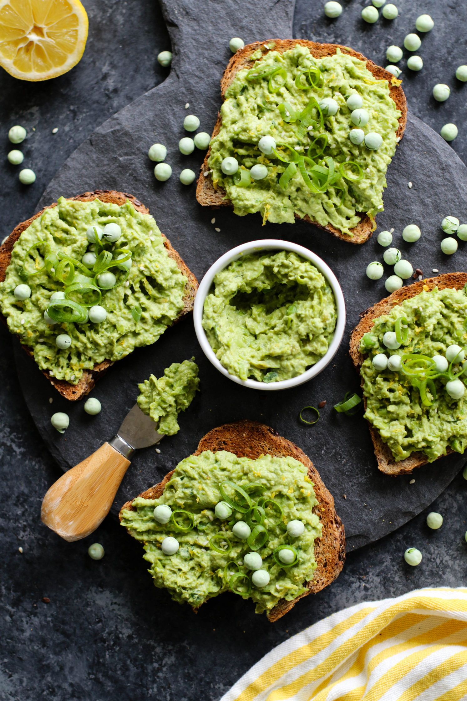 Lemon-y Smashed Pea Toast