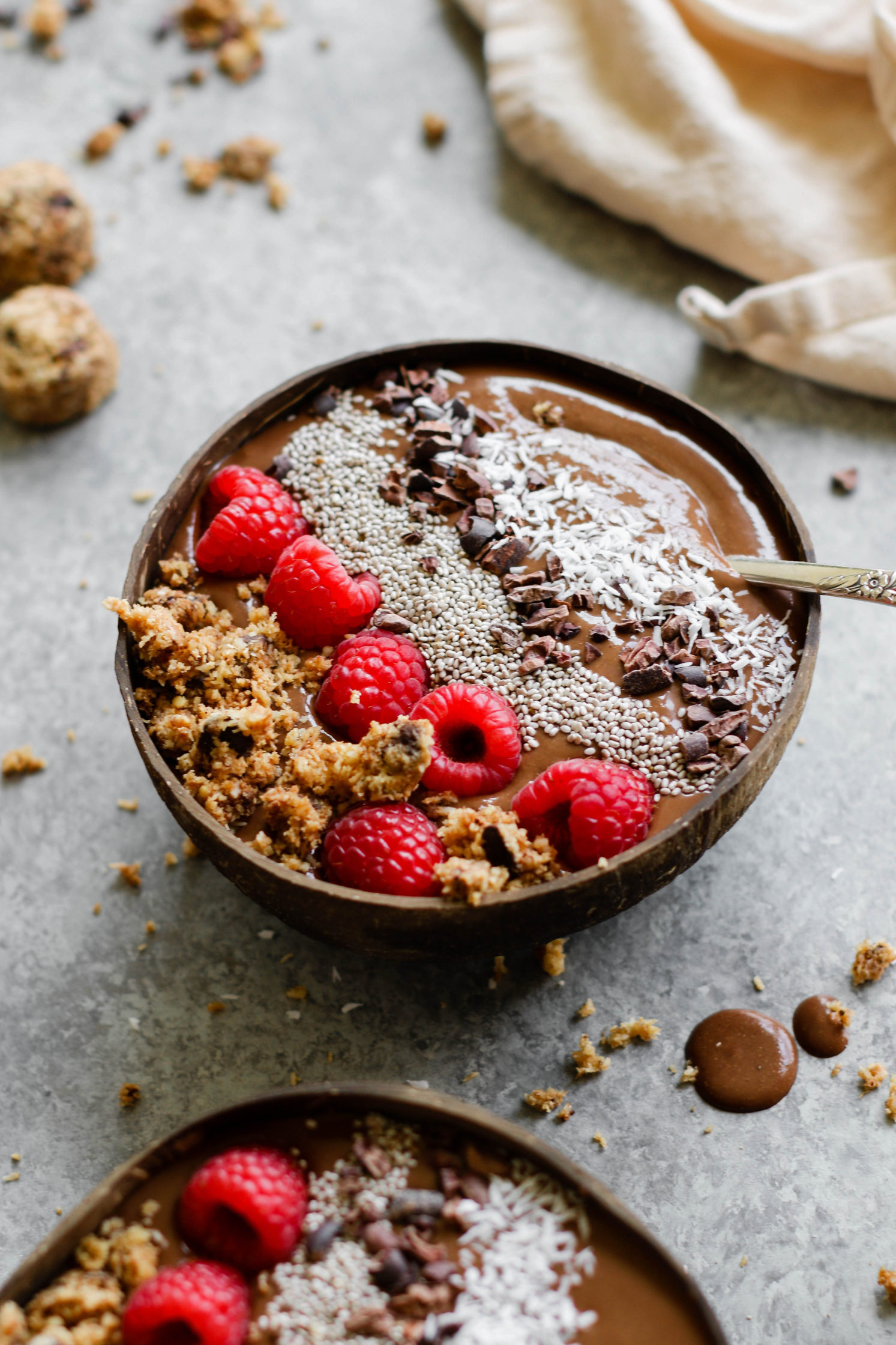 Chocolate Chia Chip Yam Smoothie Bowl (Fruit-Free)