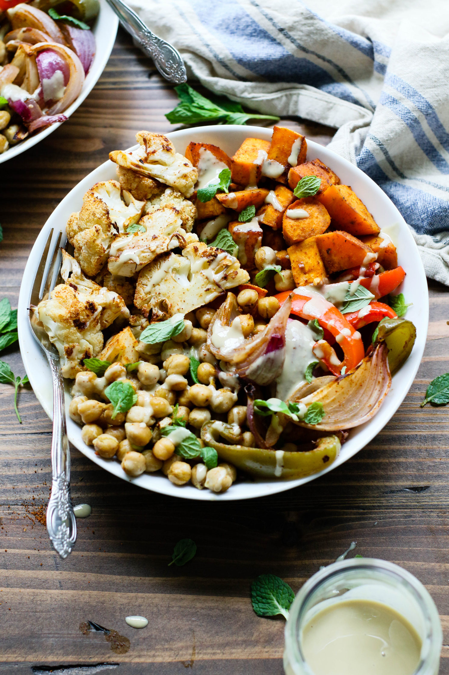 Minty Moroccan Sheet Pan Dinner with Harissa and Tahini by Flora & Vino