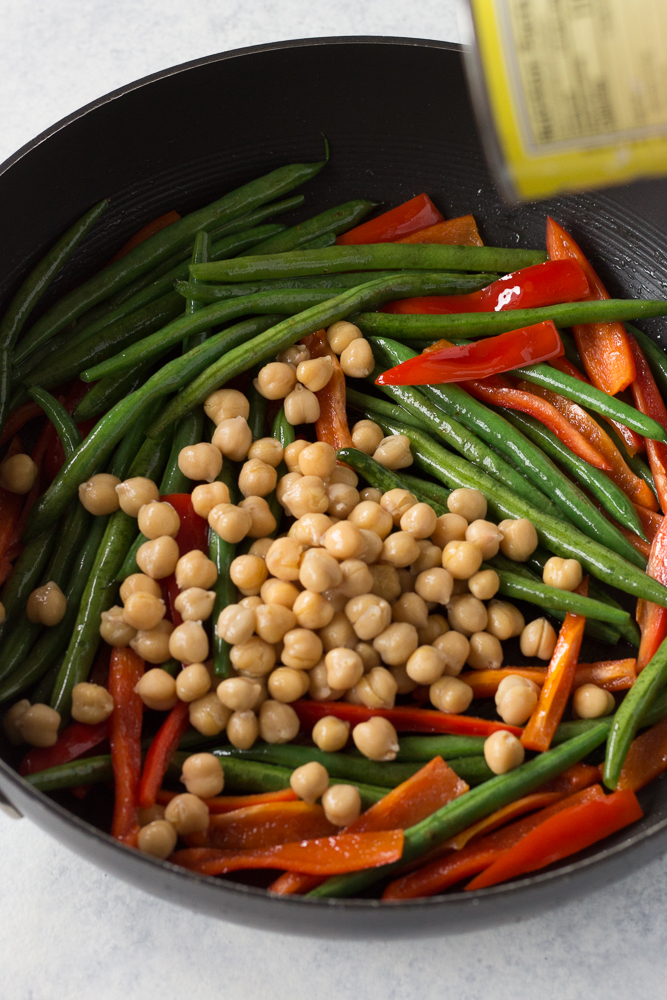 Easy Orange Chickpea Stir Fry sauteed process