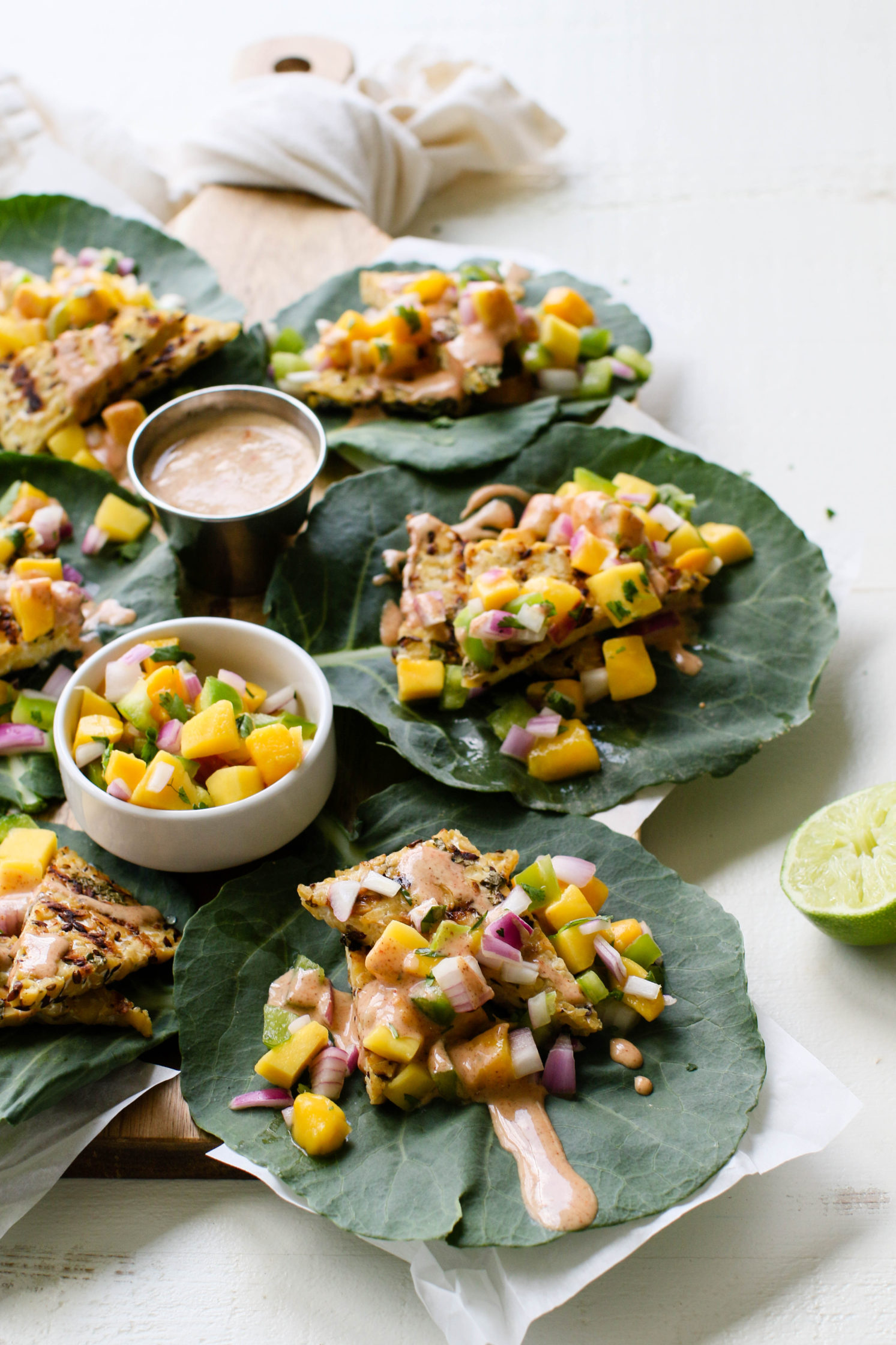 Grilled Tempeh Collard Wraps with Mango Salsa & Spicy Almond Butter Sauce