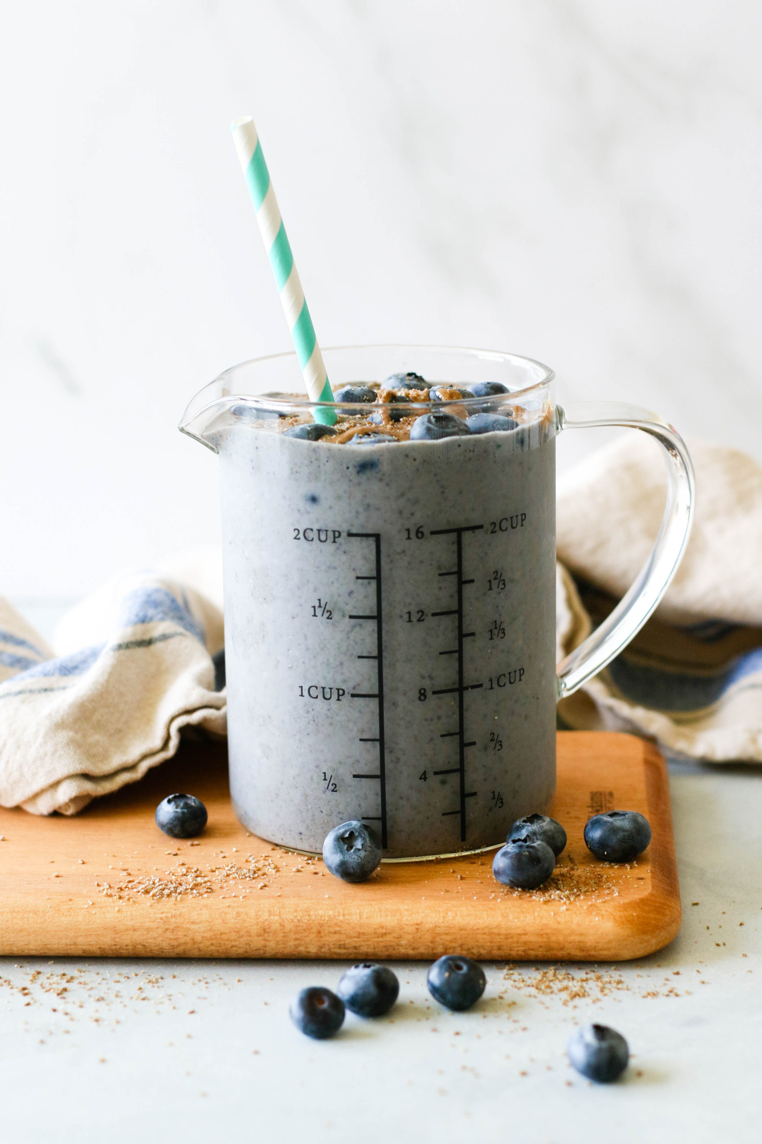Low-Sugar Blueberry Zucchini Almond Butter Shake