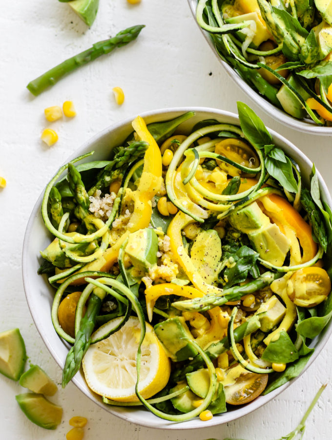 Crunchy Summer Salad with Turmeric Cider Tahini by Flora & Vino
