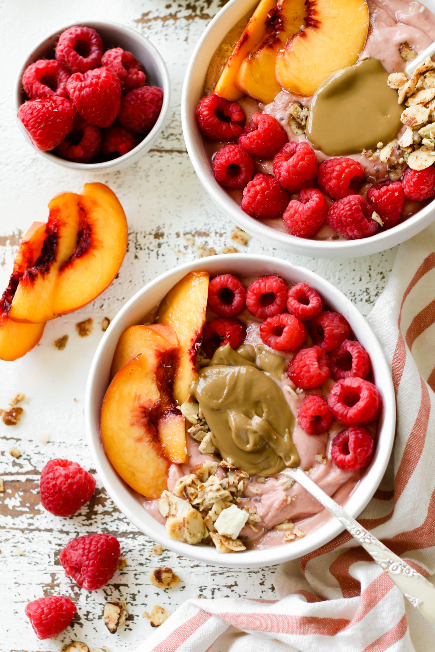 Peach Raspberry Sunbutter Smoothie Bowl by Flora & Vino