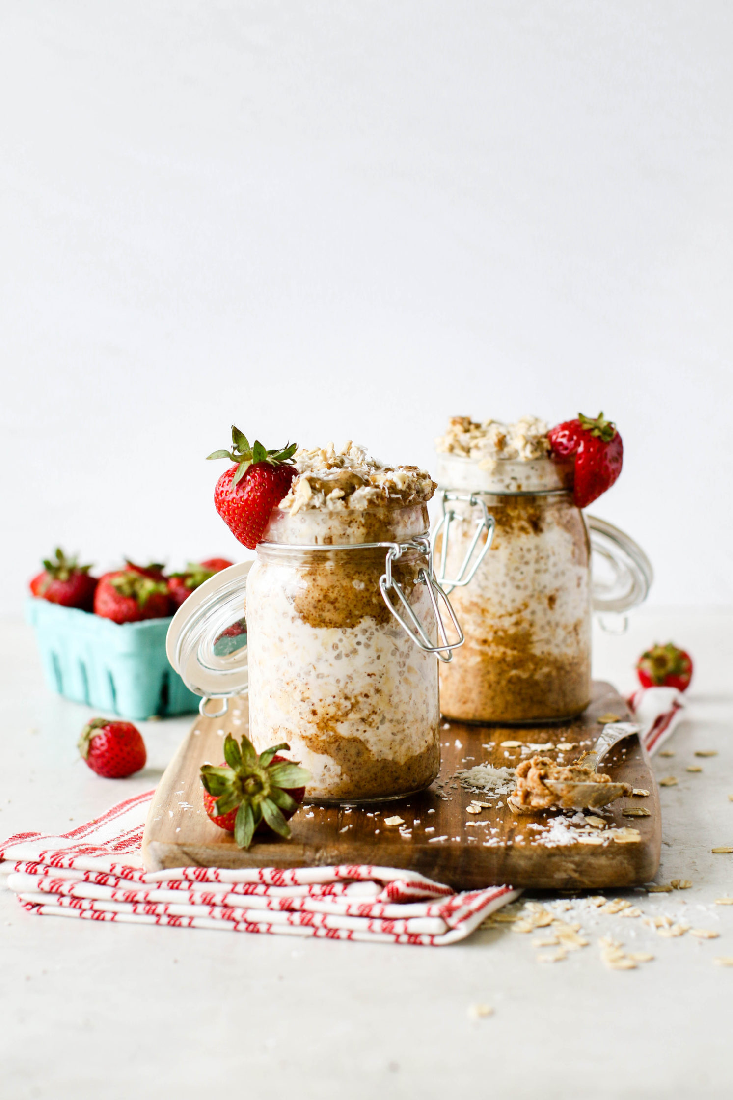 Strawberry Coconut Almond Butter Overnight Oats