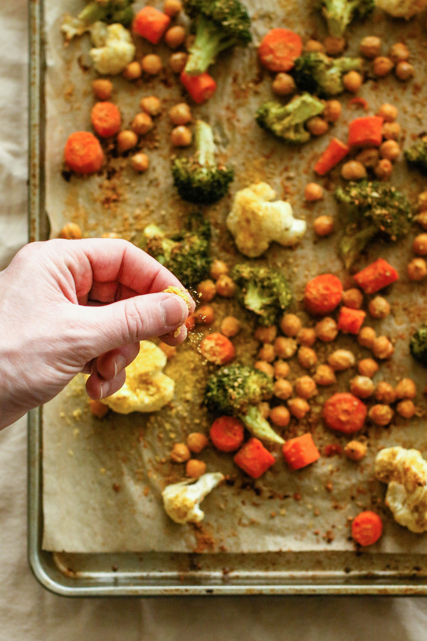 """Cheezy"" Chickpea Sheet Pan Meal"