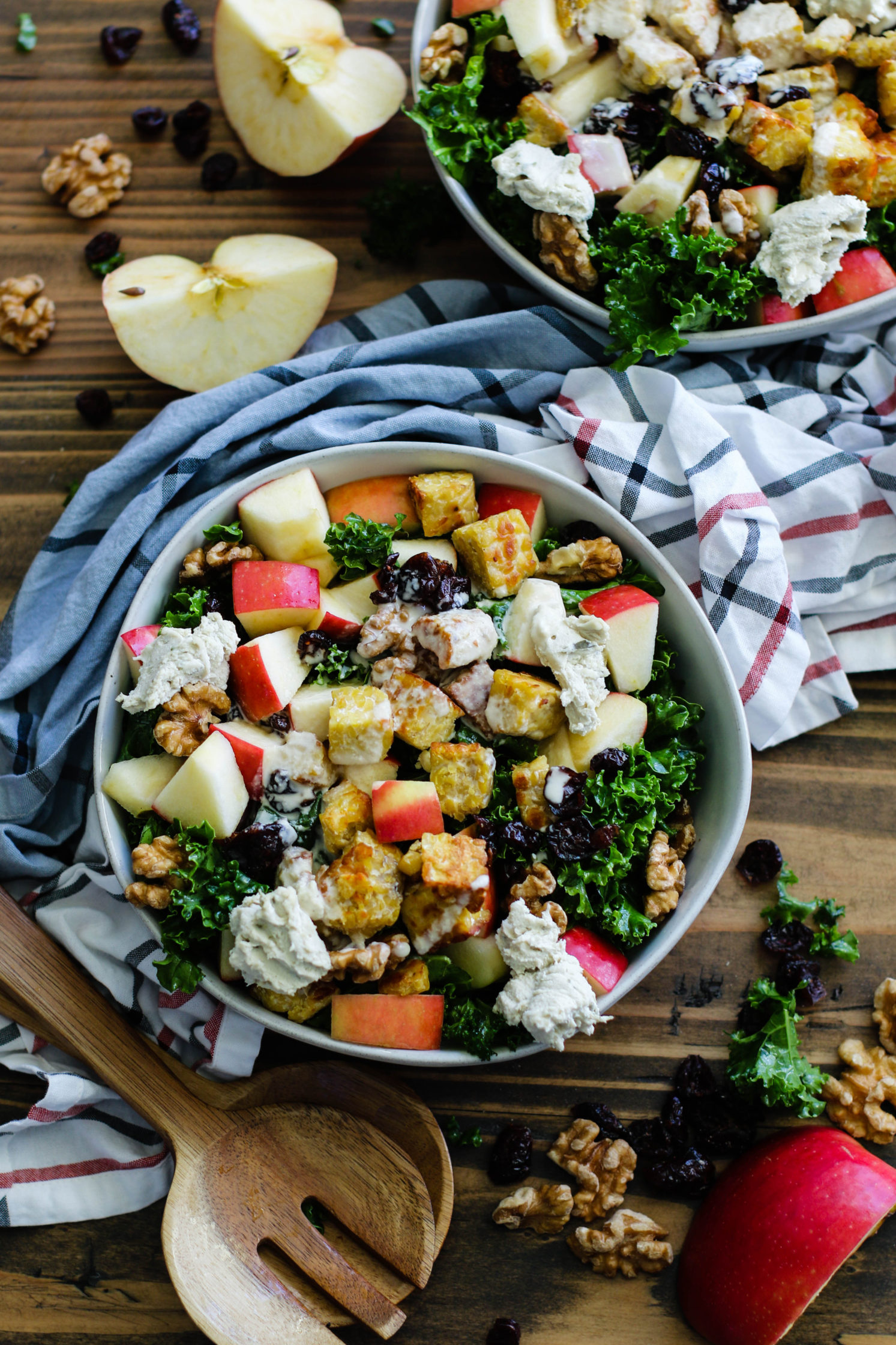 Tempeh Apple Walnut Kale Salad