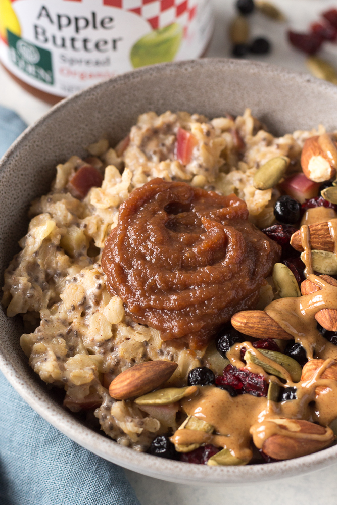 Apple Butter Stovetop Oats by Flora & Vino