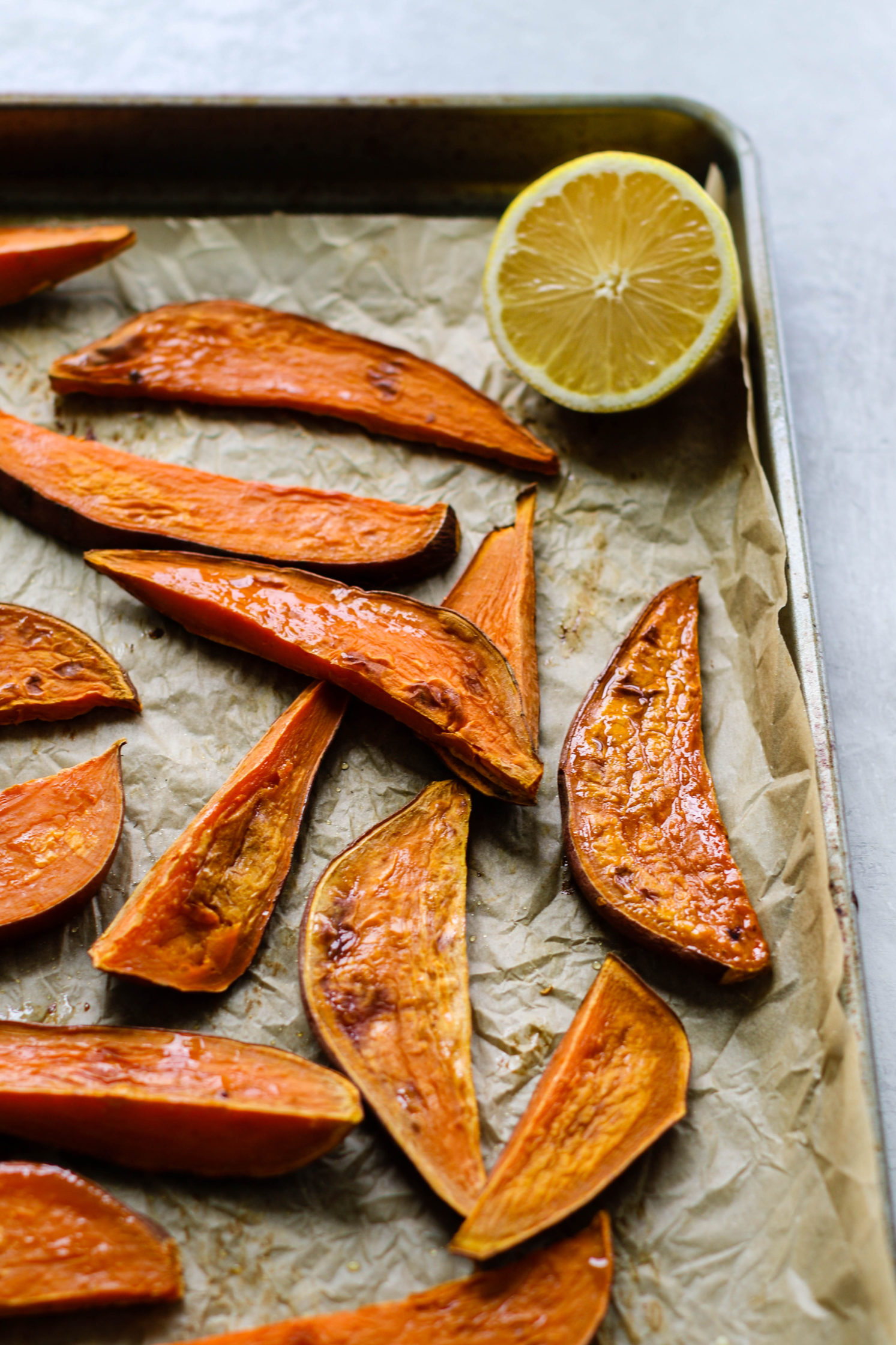 Oil-Free Sweet Potato Fries with Lemon & Tahini