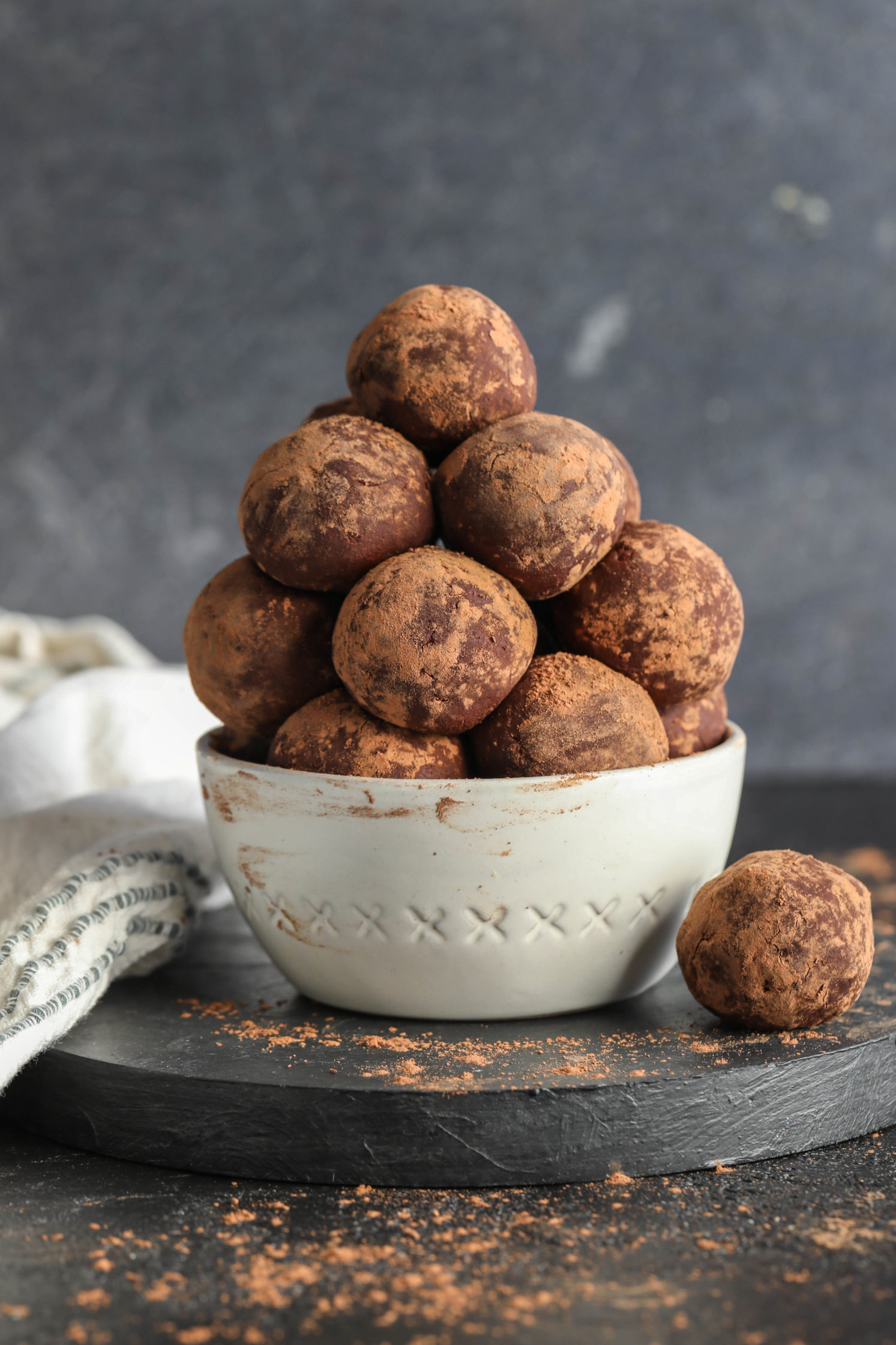 Cacao Dusted Dark Chocolate Truffles by Flora & Vino