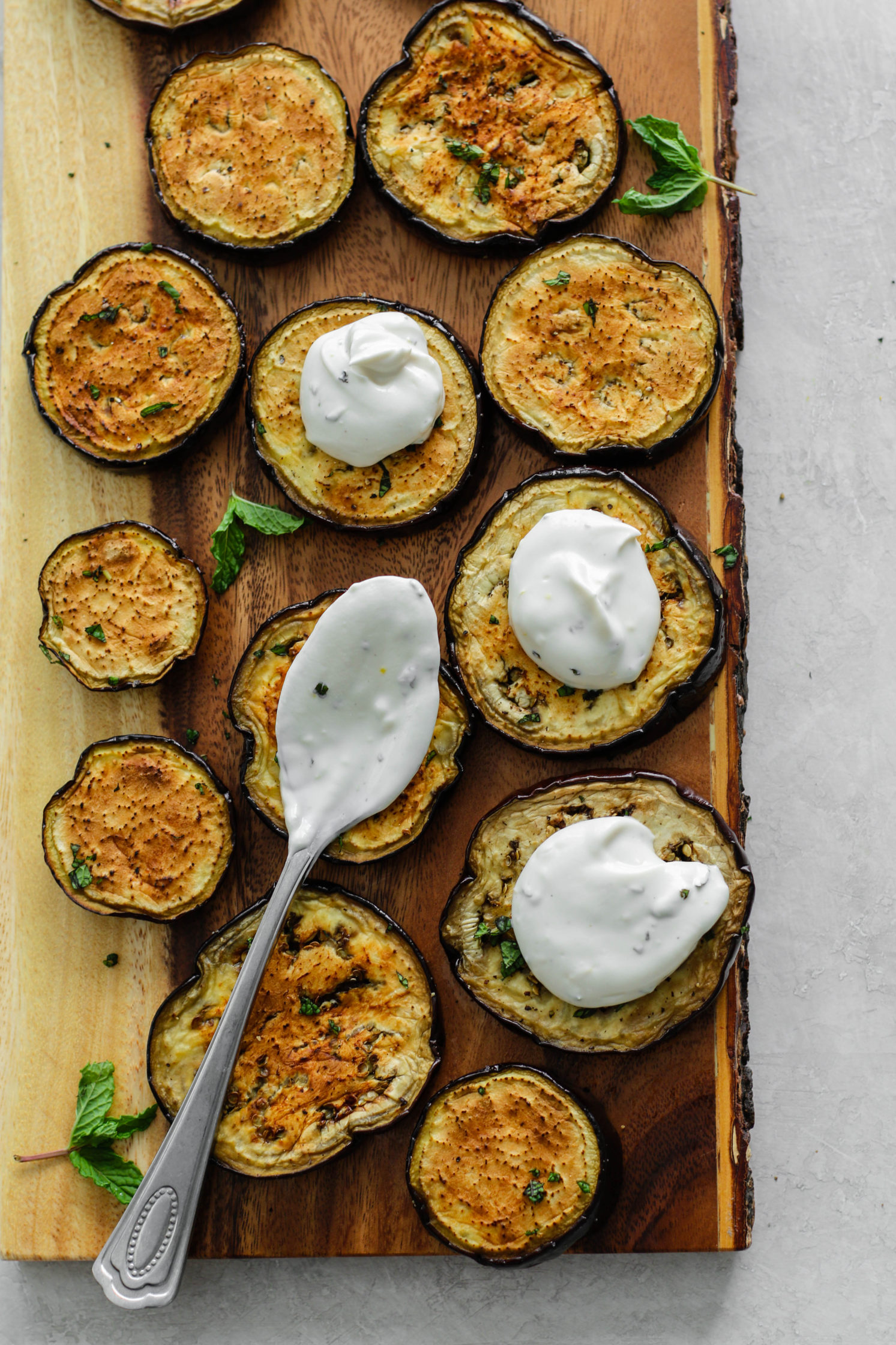 Eggplant Rounds with Herbed Yogurt Sauce & Pomegranate