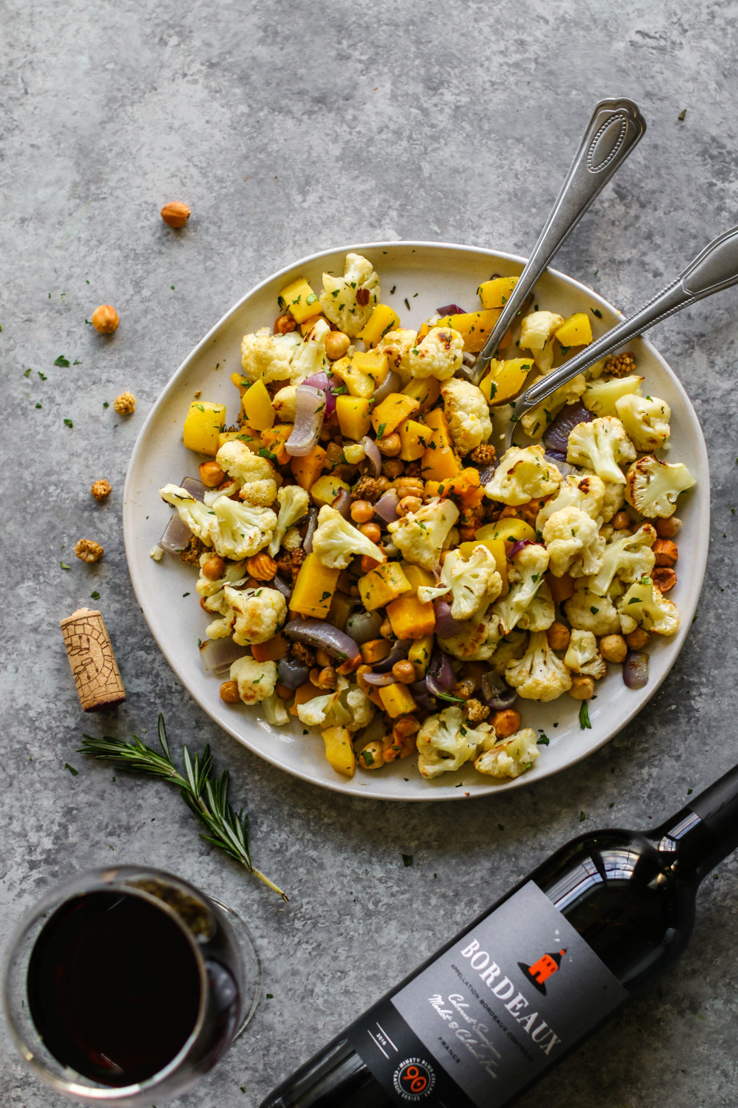 Rosemary Roasted Cauliflower Salad with Toasted Hazelnut & Mulberries