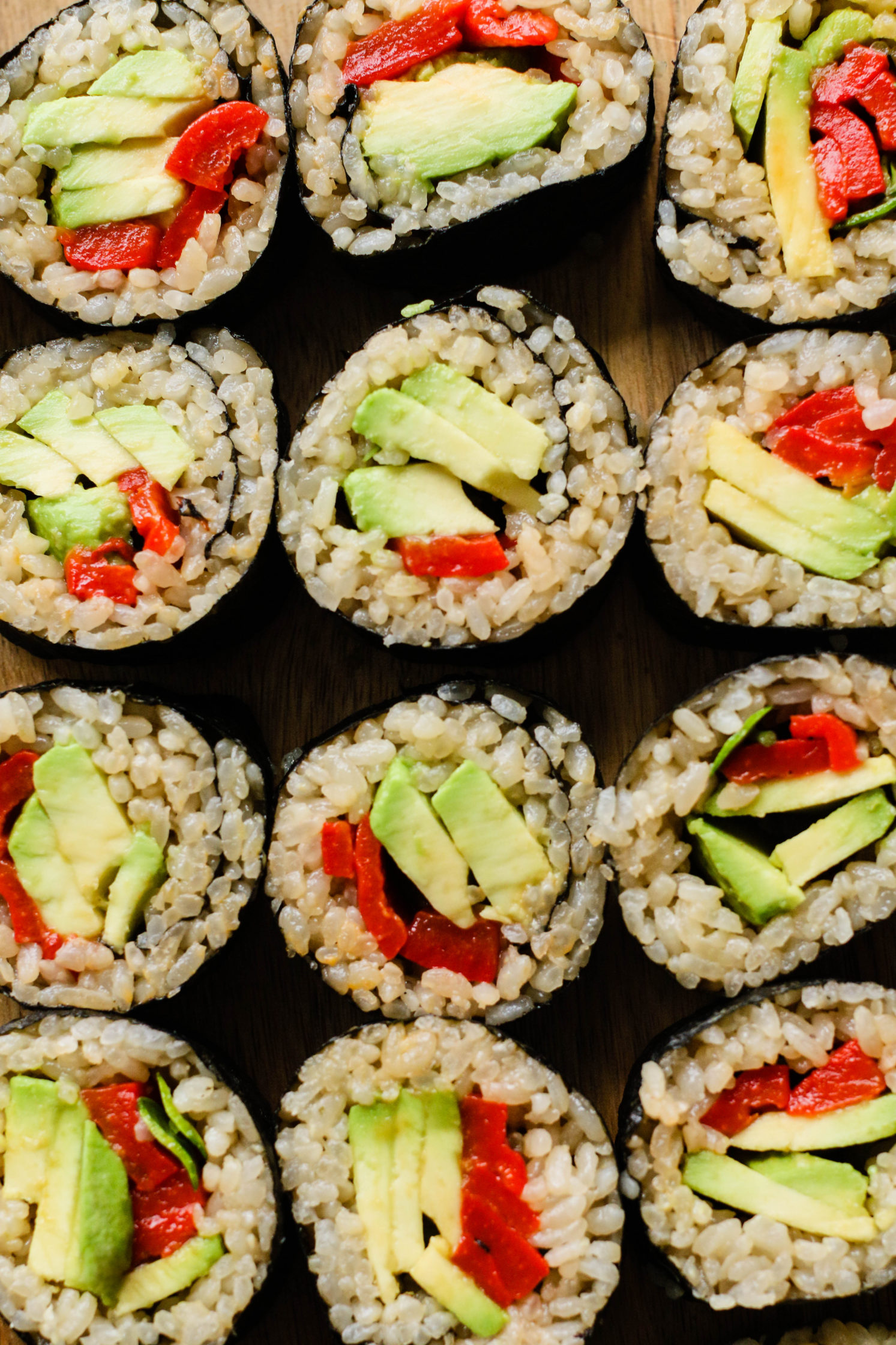 Vegan Avocado & Roasted Red Pepper Sushi