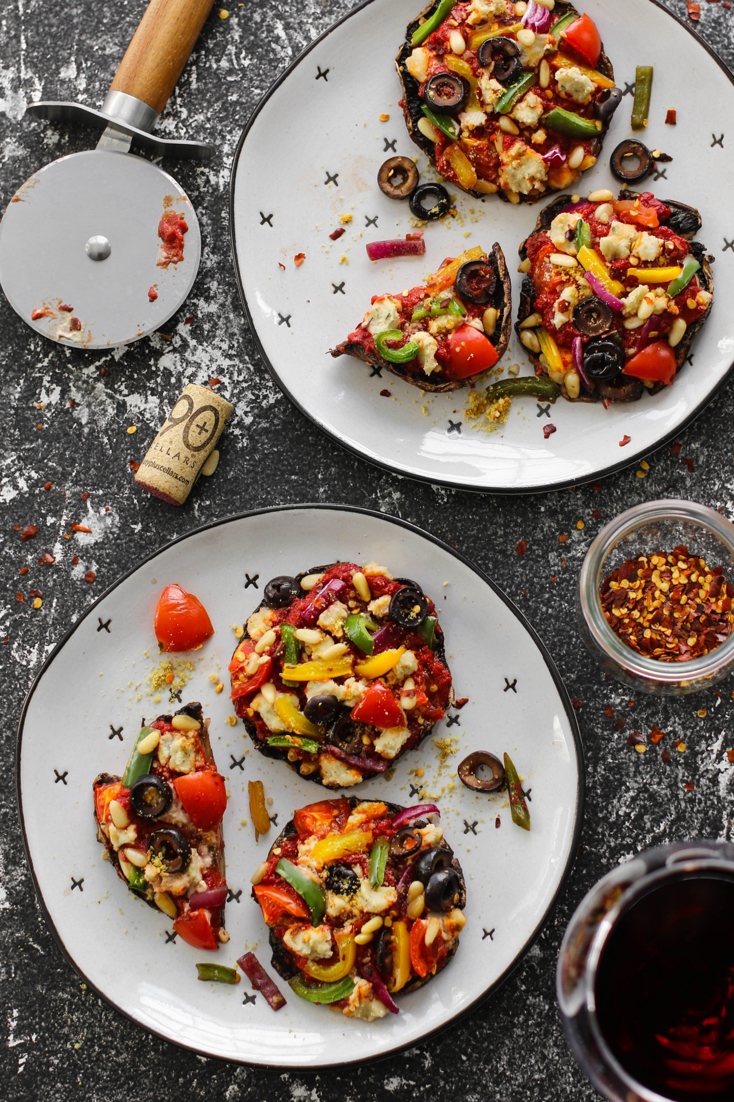 Pizza Stuffed Portobello Mushrooms & Pinot Noir by Flora & Vino