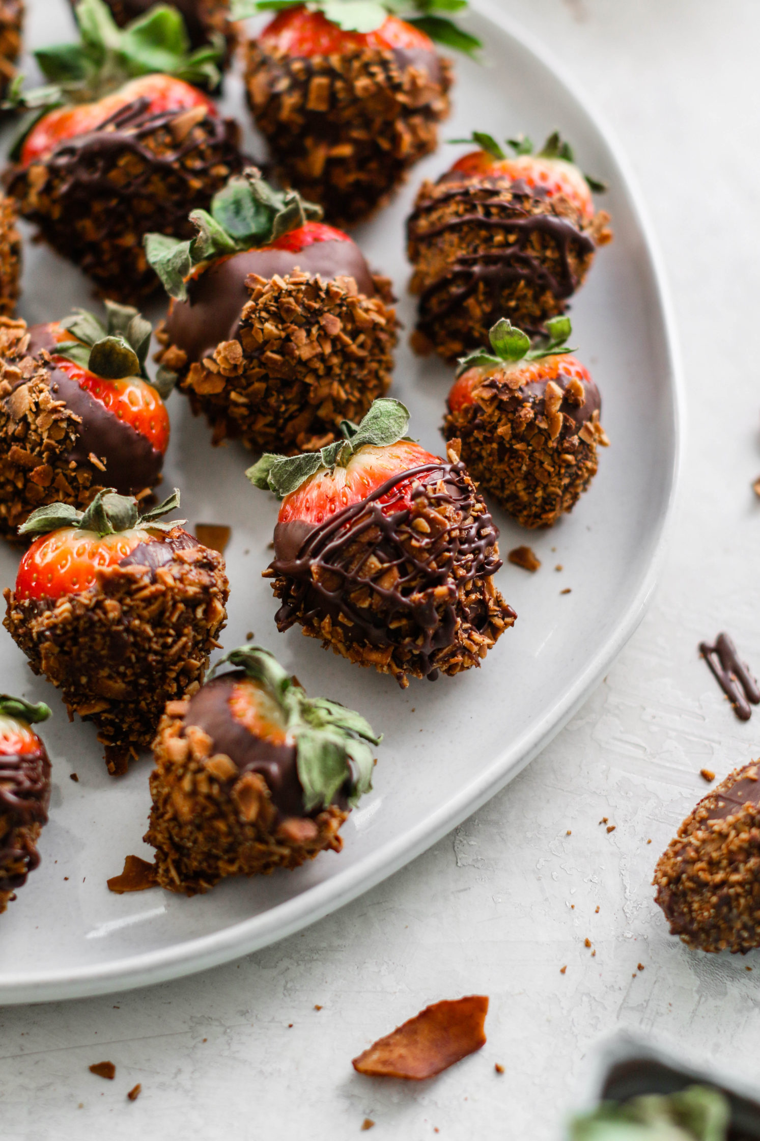 Chocolate Coconut Covered Strawberries by Flora & Vino
